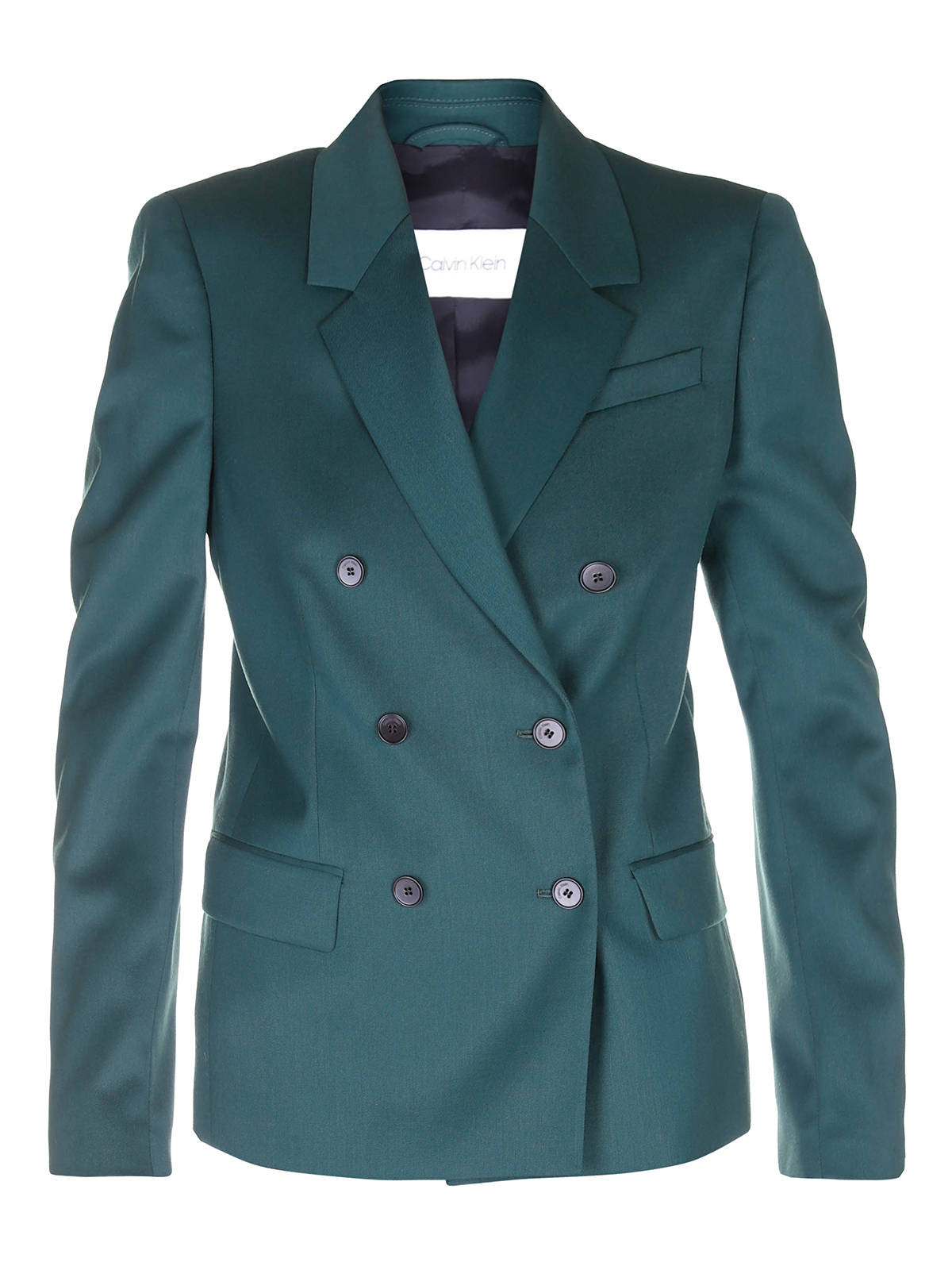 Calvin Klein GREEN TWILL DOUBLE BREASTED BLAZER