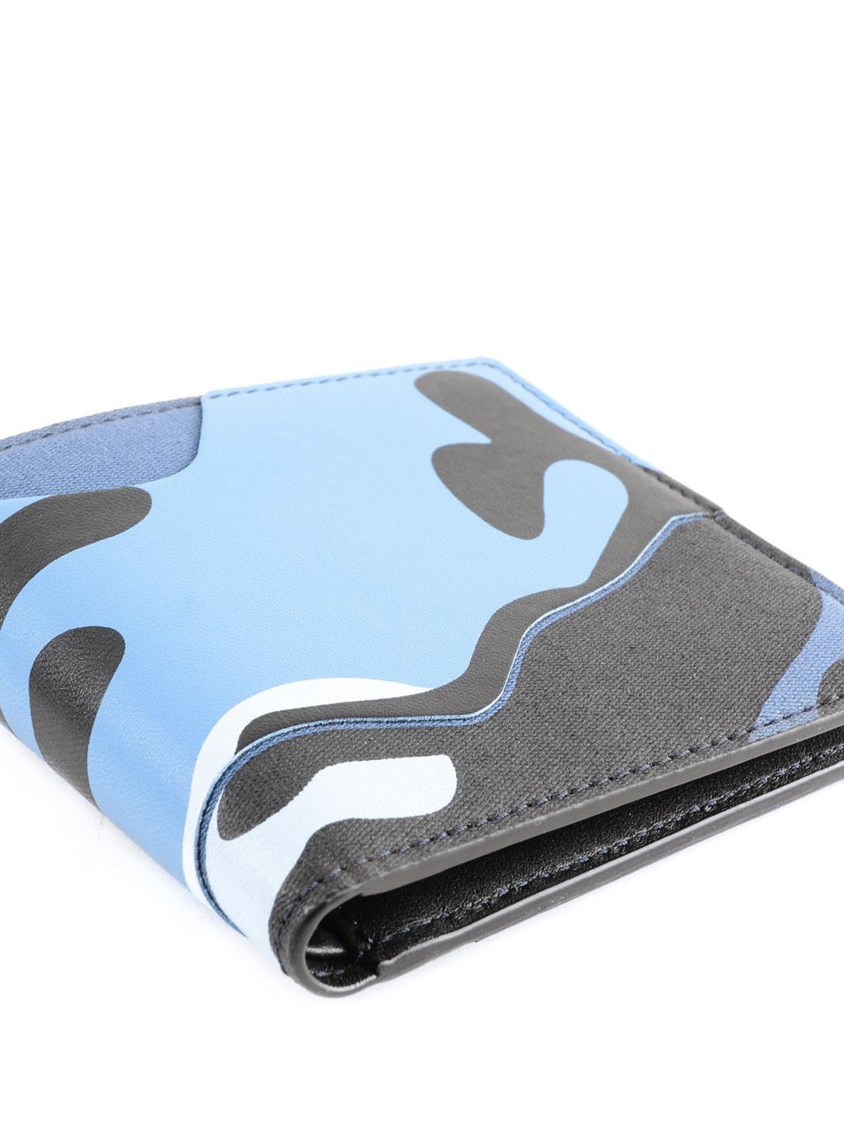 8cdd16196d Valentino Garavani - Camouflage sky blue bi-fold wallet - wallets ...
