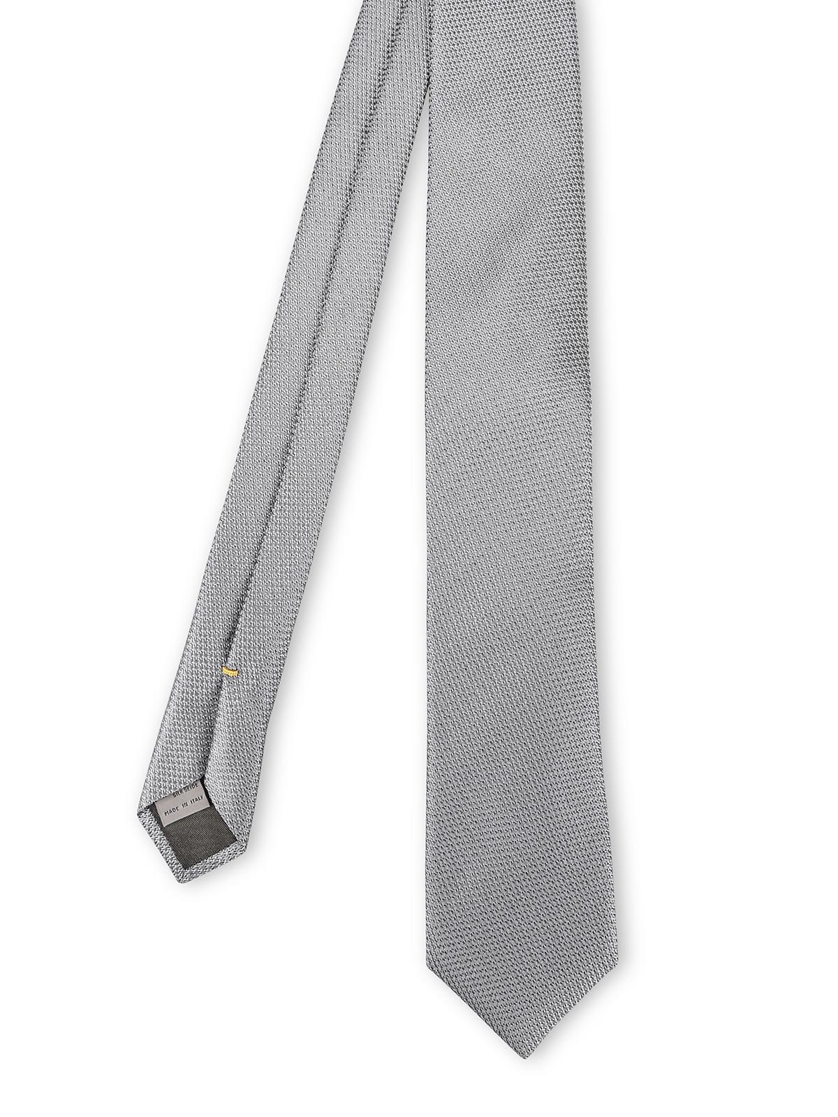 taglia 7 ineguagliabile scarpe a buon mercato Canali - Cravatta in seta jacquard grigia - cravatte e ...