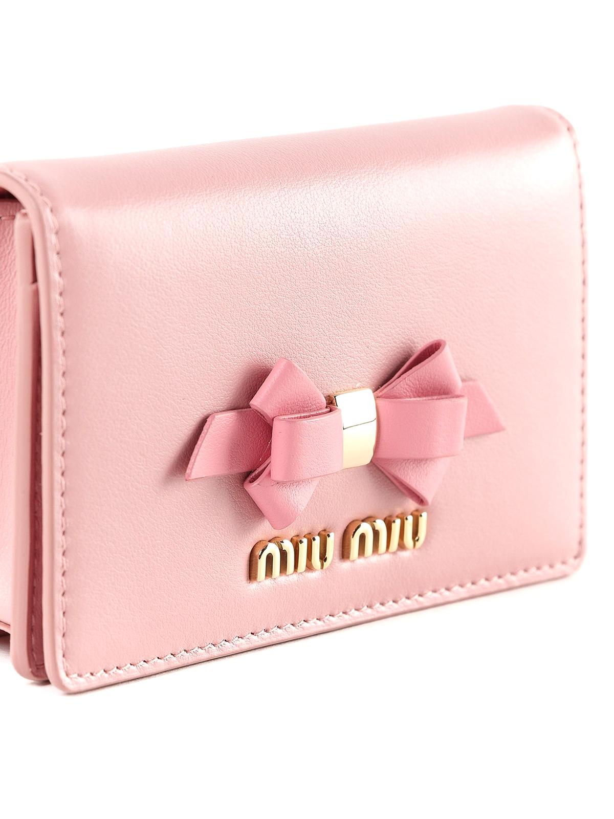 0345e6e3f Miu Miu - Candy pink leather bow wallet clutch - clutches ...