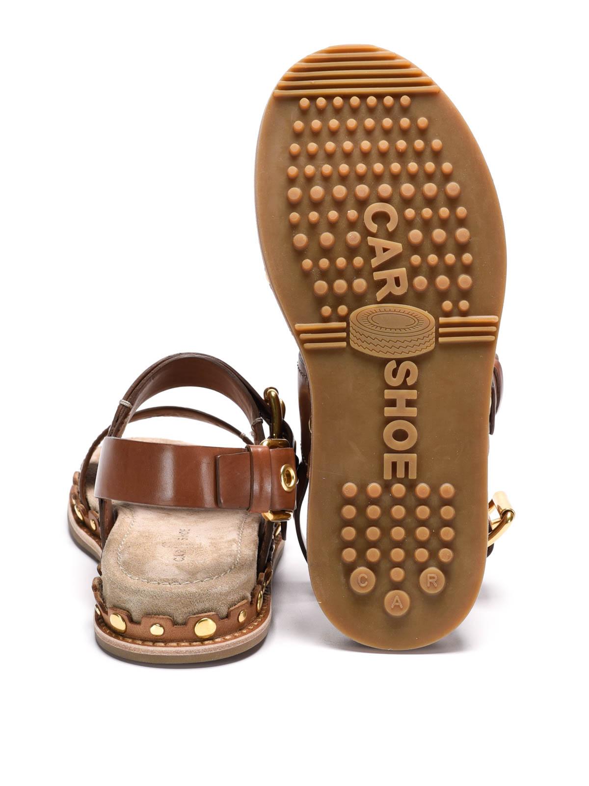 Sandales En Cuir De Chaussures De Voiture op5U1EO6