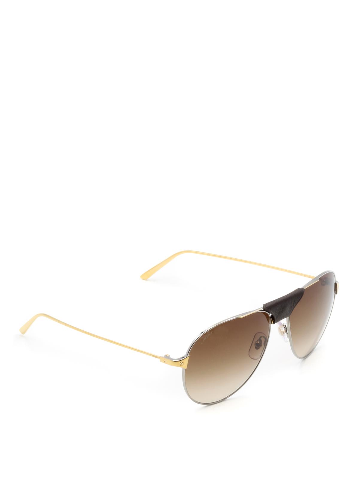 17dcf52ff6 Cartier - Santos de Cartier gold sunglasses - sunglasses - CT0038S8