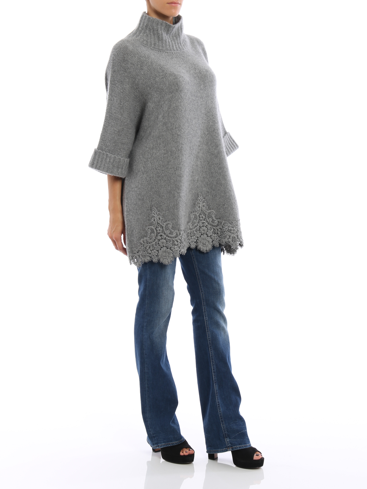 ea8e1573e70 Ermanno Scervino - Cashmere lace embellished cape - Turtlenecks ...