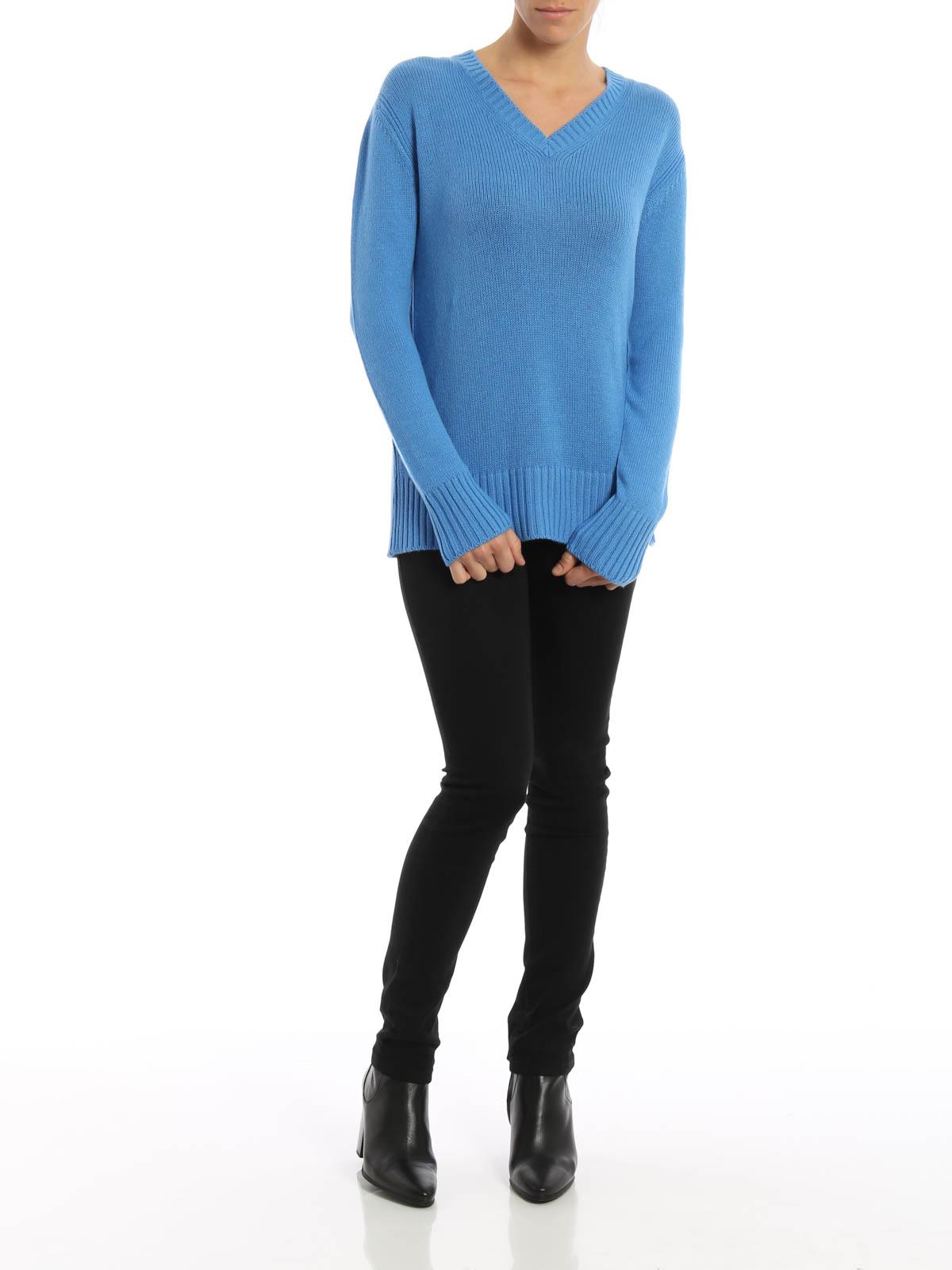 35355926abef Prada - T-Shirt À Col V Bleu Pour Femme - Col en V - 124A80 643 013