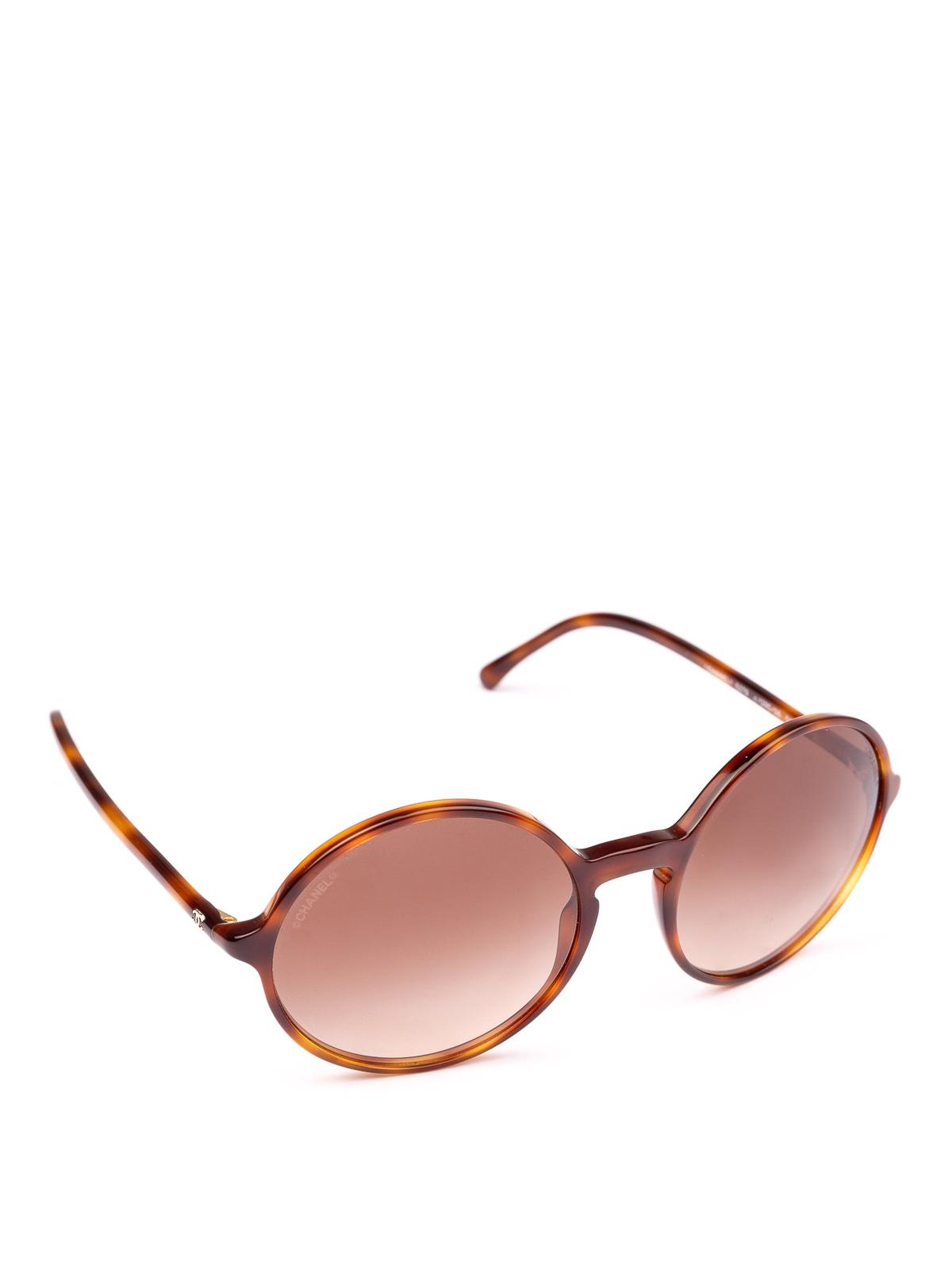 f334ab72673 Chanel - Light havana full rim round sunglasses - sunglasses - 5279 ...