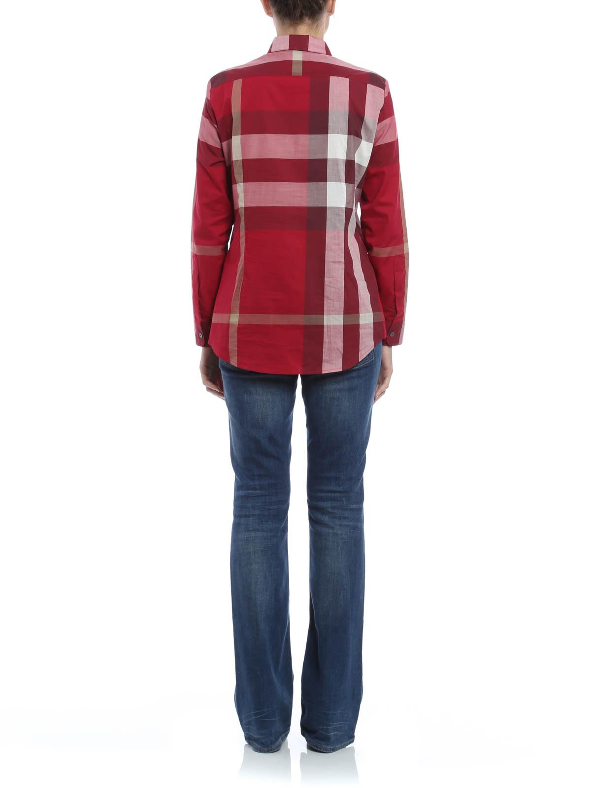 camicia in cotone con stampa check burberry camicie ikrix. Black Bedroom Furniture Sets. Home Design Ideas
