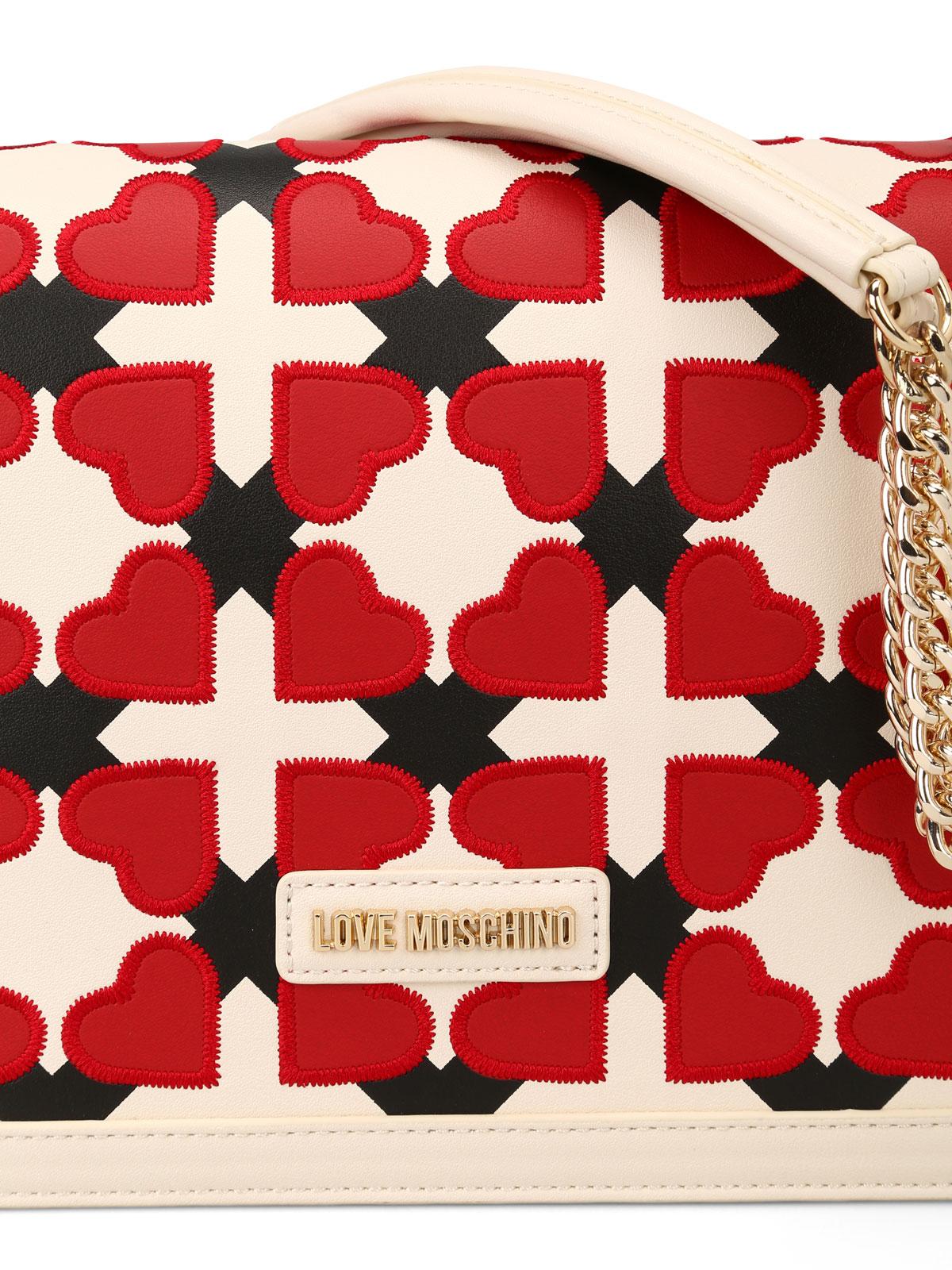 Borsa a spalla con cuori e quadri Love Moschino - borse a spalla | iKRIX