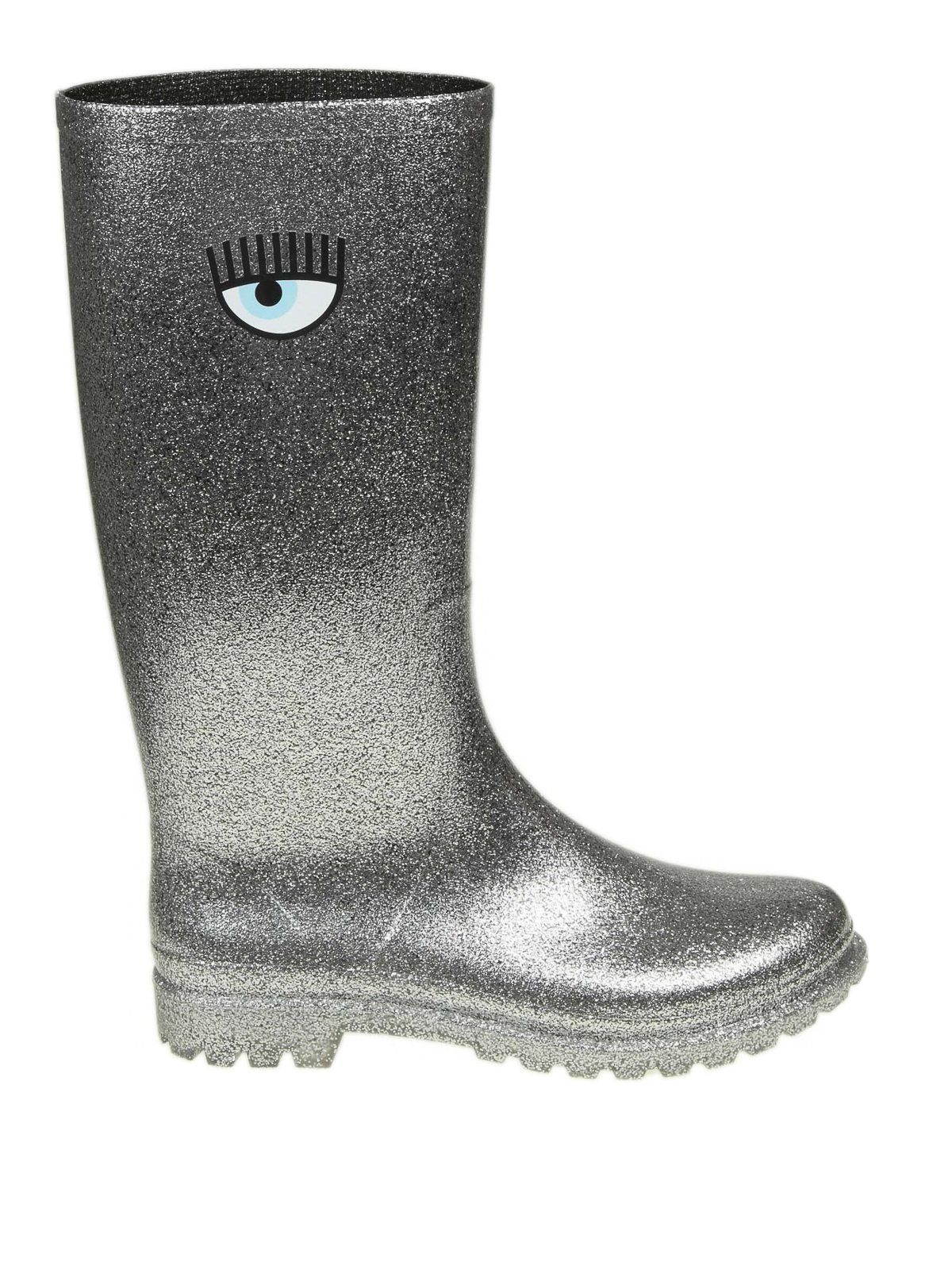 CHIARA FERRAGNI  stivali - Stivali da pioggia in gomma glitter argento c730cef0efd