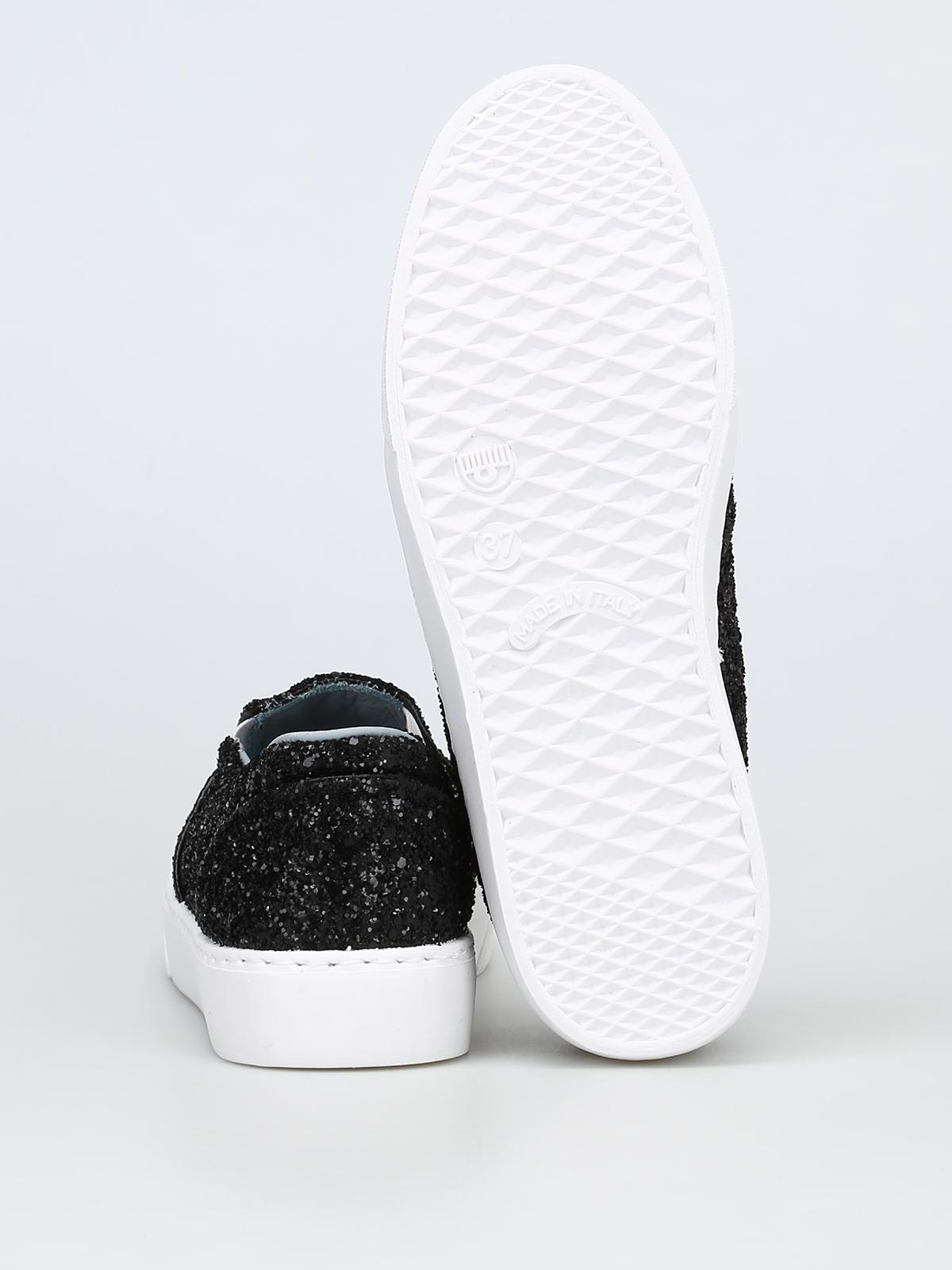 Flirting black glitter slip on sneakers