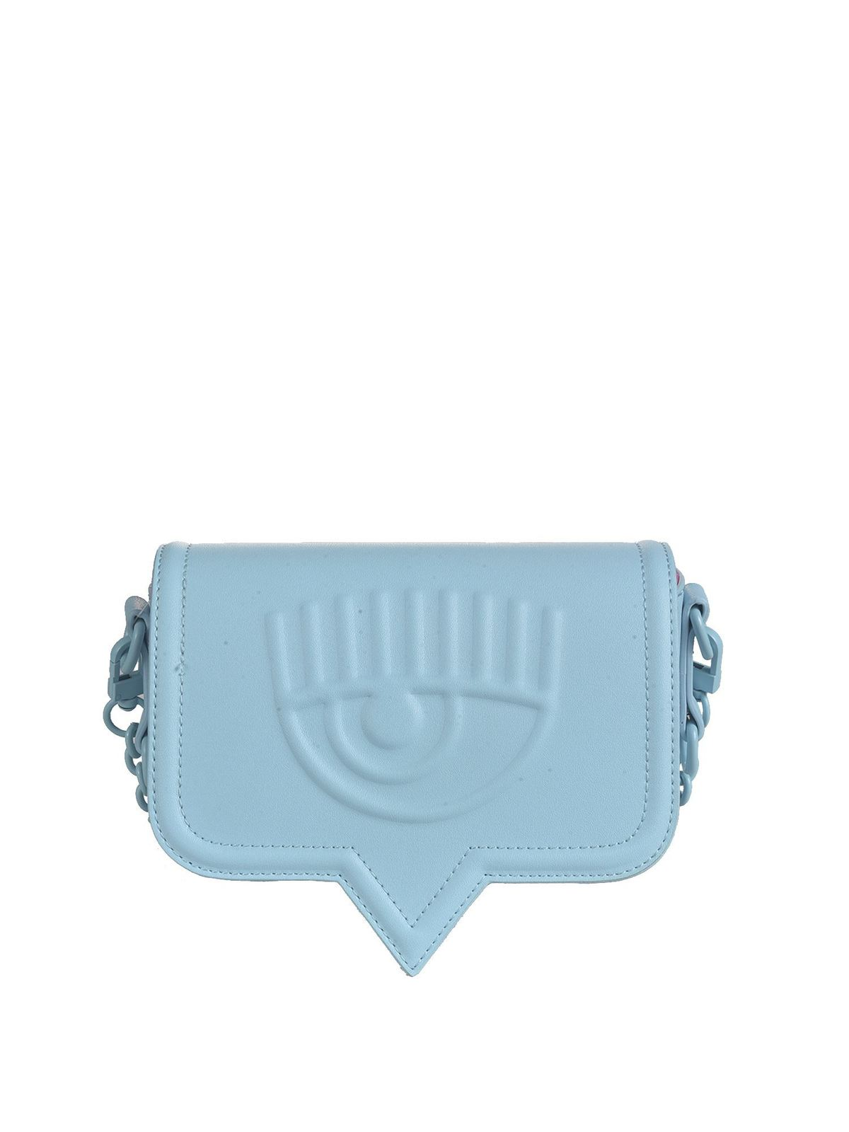 Chiara Ferragni EYELIKE SMALL SHOULDER BAG IN LIGHT BLUE