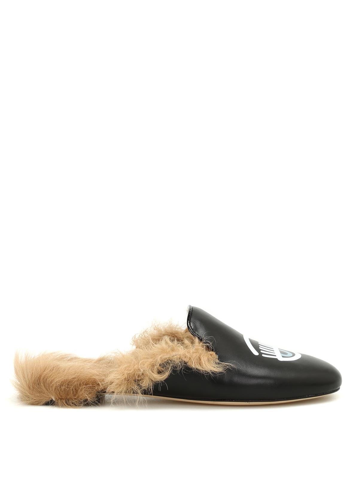 vendita a basso prezzo ottenere a buon mercato grande qualità Chiara Ferragni - Flirting faux fur insert slippers - mules shoes ...