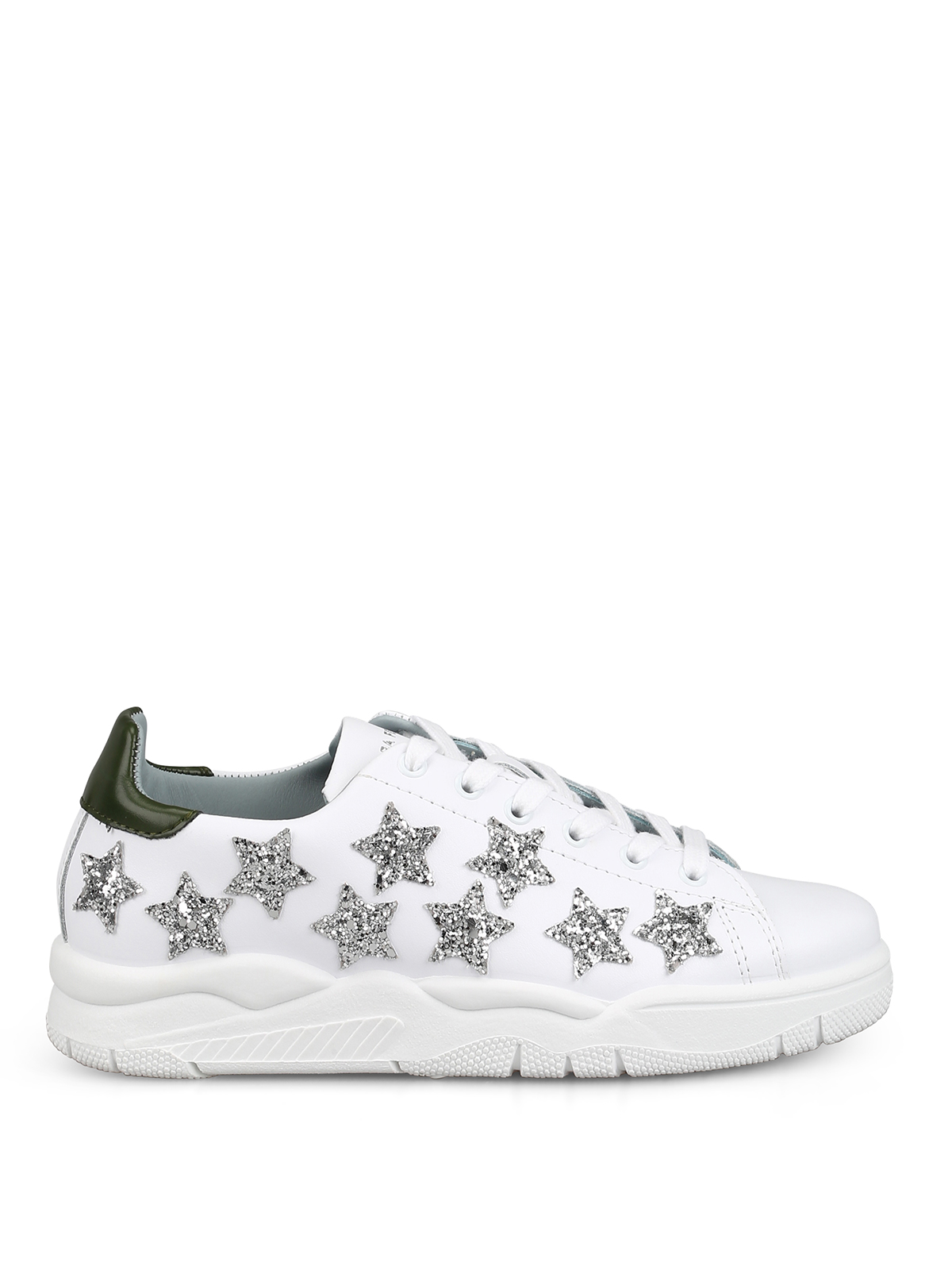 Chiara Ferragni Glitter Star Patches Leather Sneakers In White