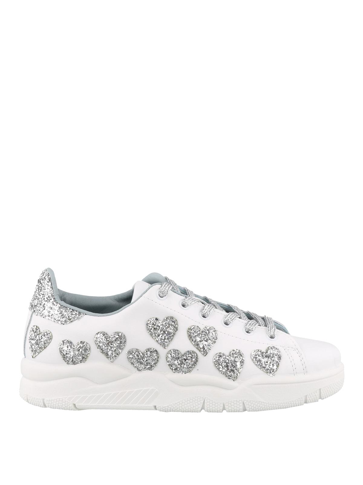 5c6924ab92c Chiara Ferragni - Hearts white leather sneakers - trainers - CF2252