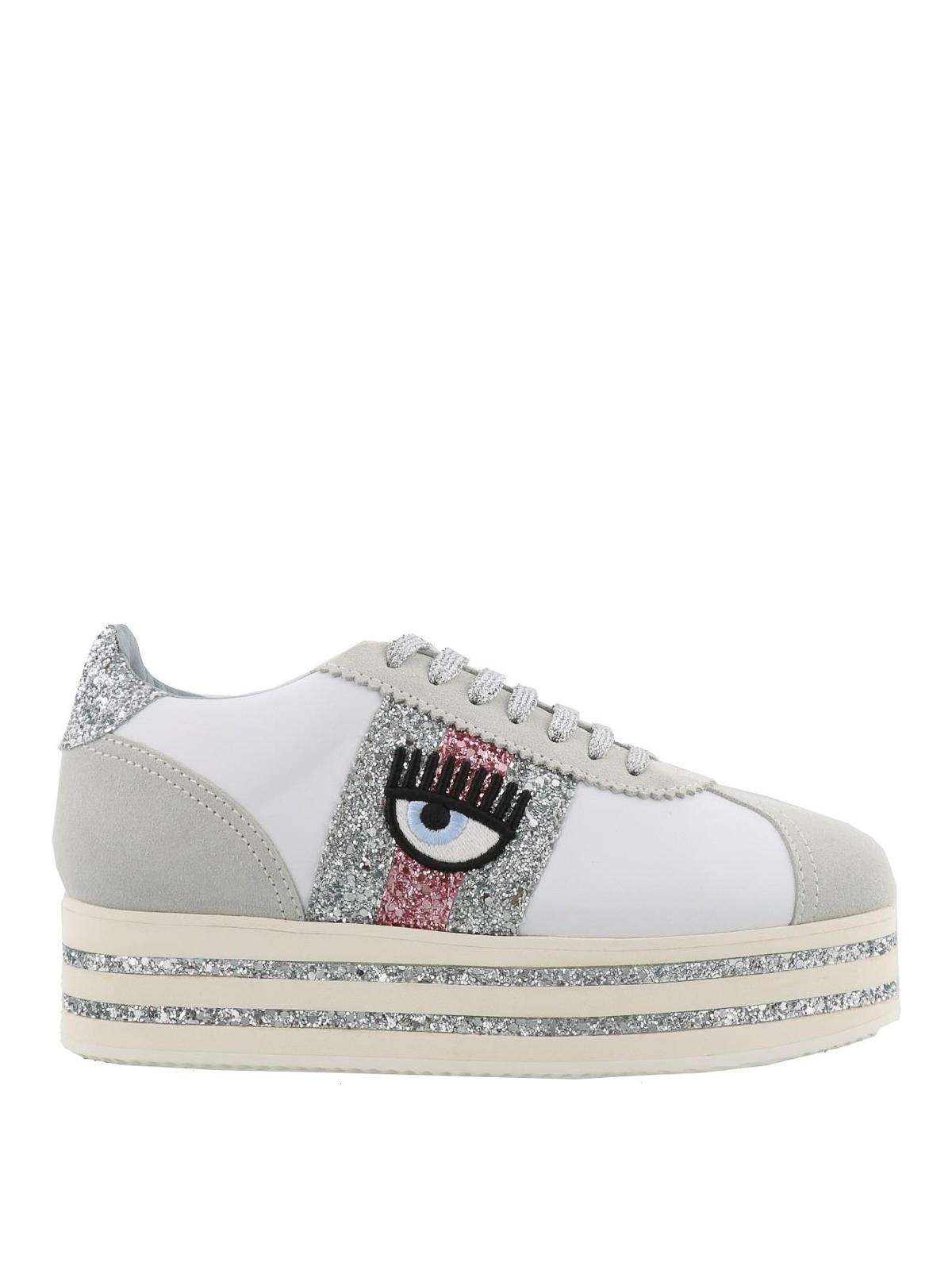6e8a5cf2d75 CHIARA FERRAGNI  trainers - Logomania white leather platform sneakers