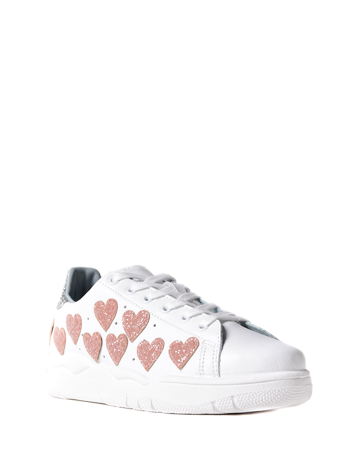 Roger sneakers with pink glitter hearts Chiara Ferragni