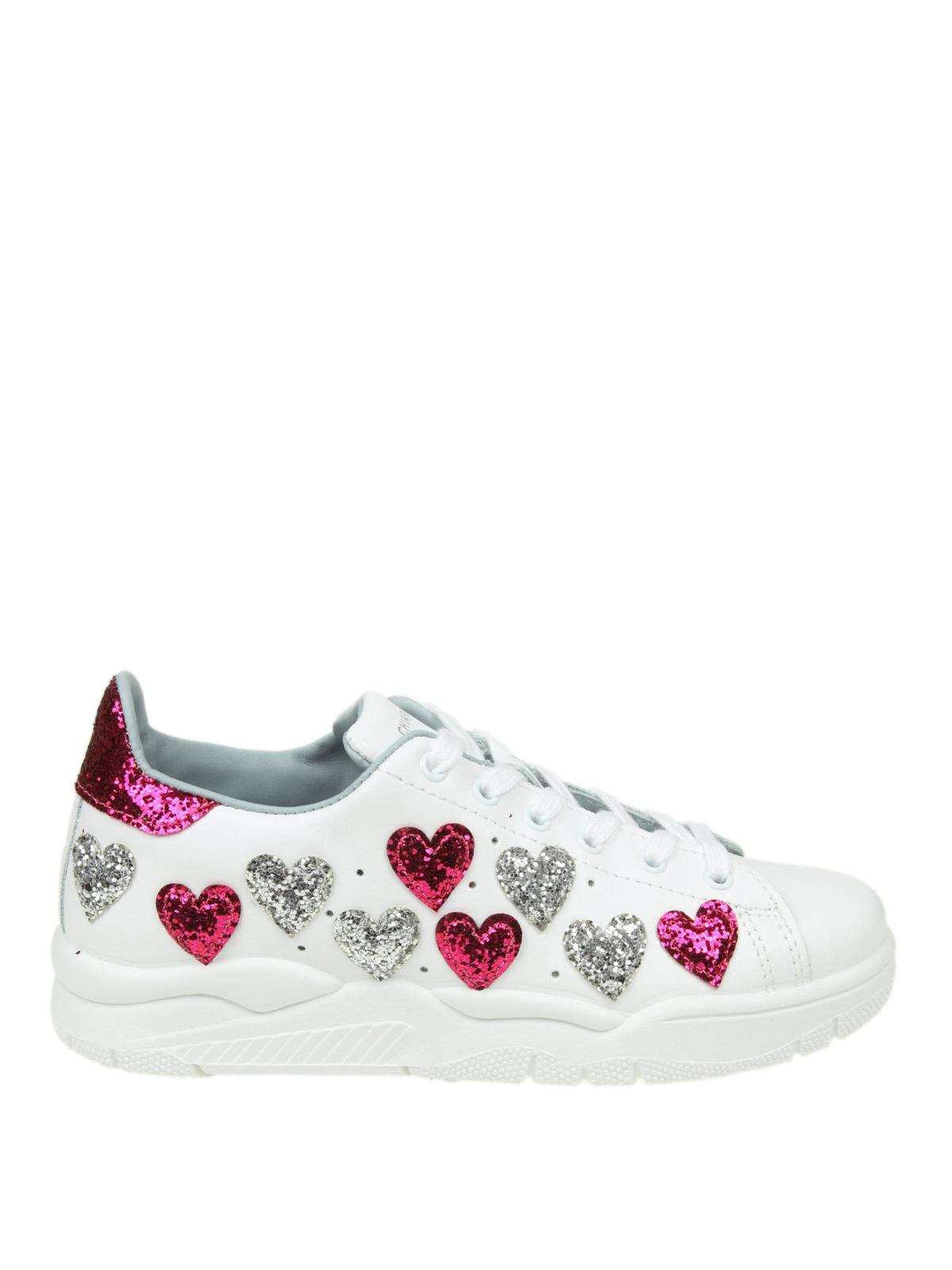 Chiara Sneaker Ferragni Roger Con Pelle Cuori In Glitter ALc35jq4R