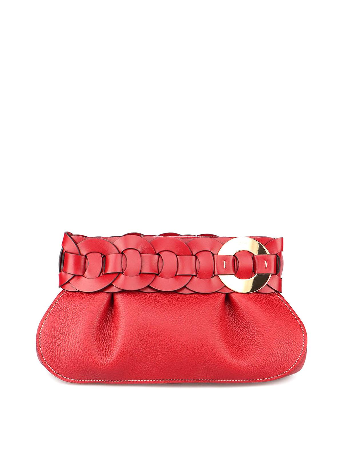 Chloé Darryl Clutch Bag In Red