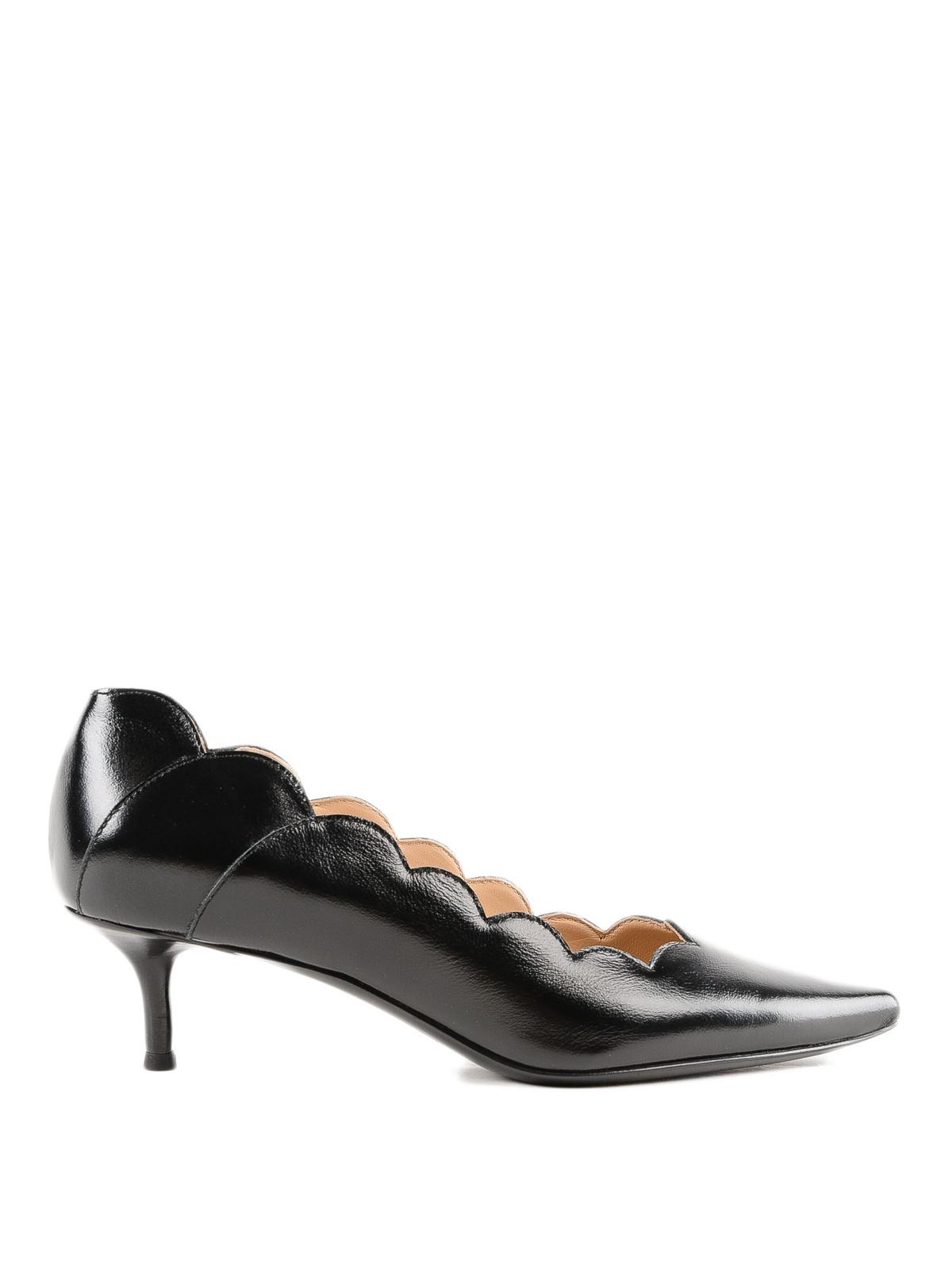 e08b8a120e30 Lauren polished leather scalloped pumps shop online  CHLOE · CHLOE · CHLOE