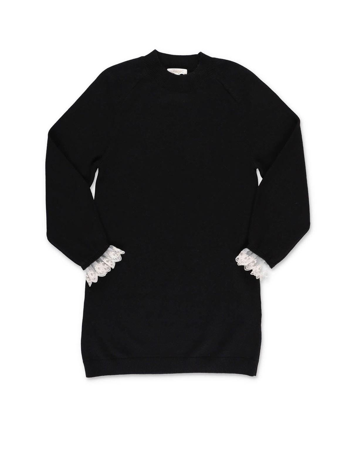Chloé Cottons BLACK DRESS WITH LACE