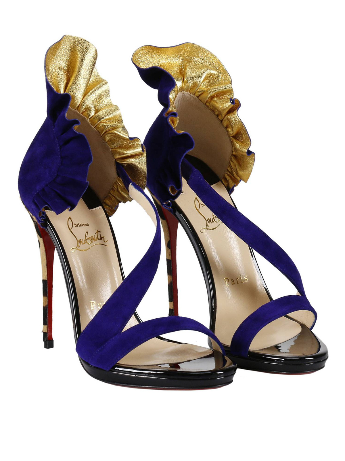 Christian Louboutin: sandals online - Colankle ruched suede sandals