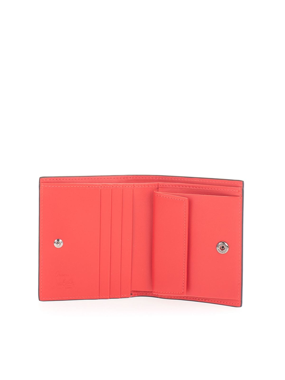 Christian Louboutin Wallets BRANDED FODING WALLET IN BLACK AND RED