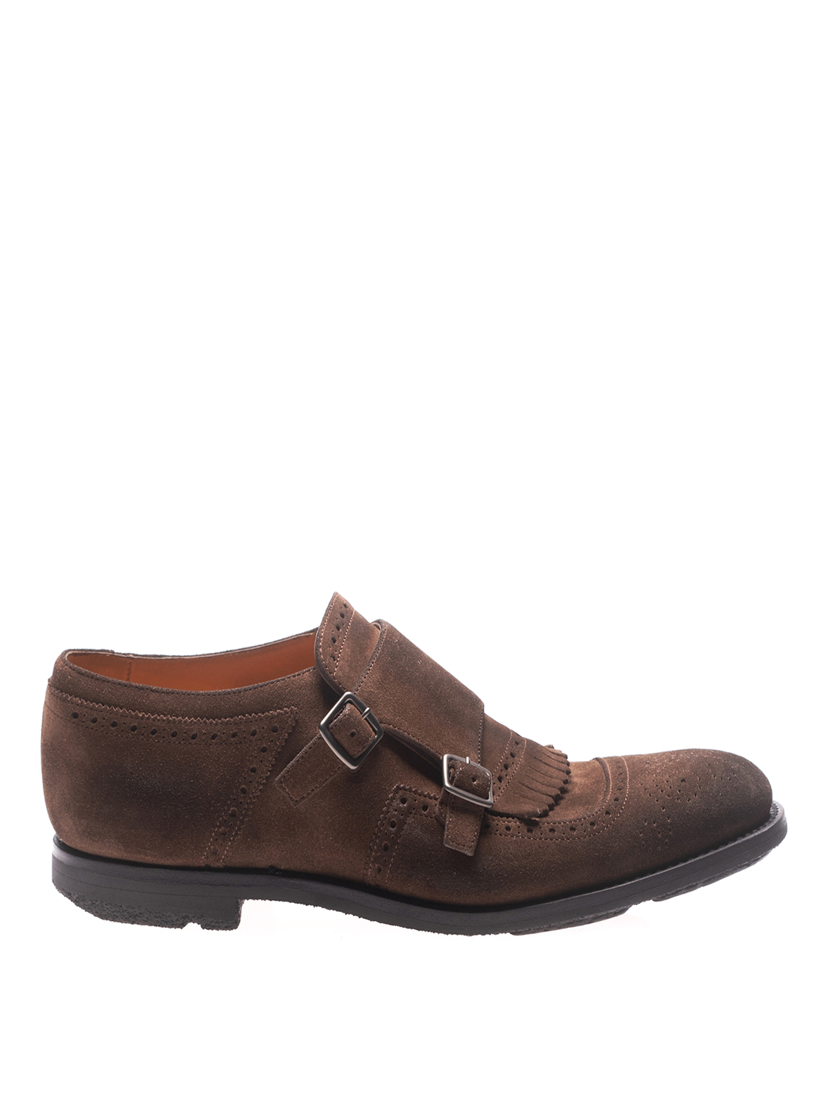 Church's Seaforth Suede Brogue Monk Straps In Brown