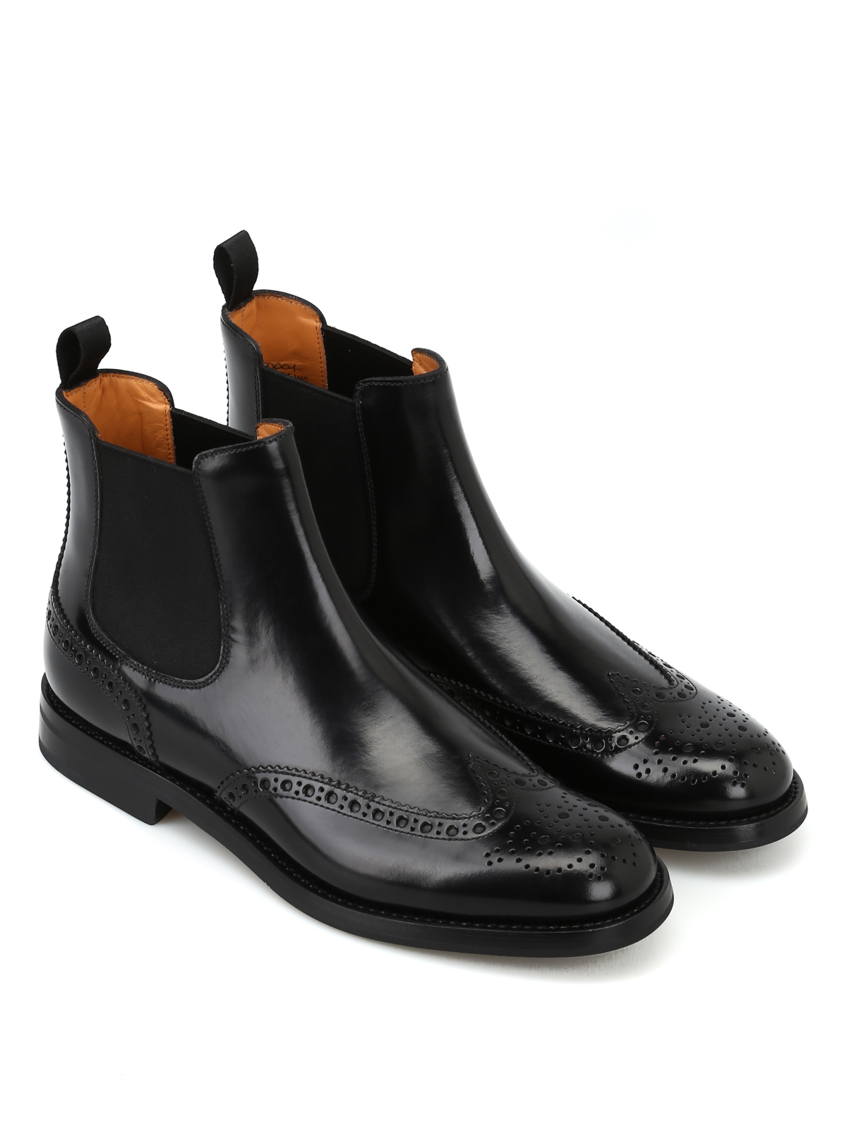 df349e611f074 Church's - Black polish binder brogue Chelsea boots - ankle boots ...