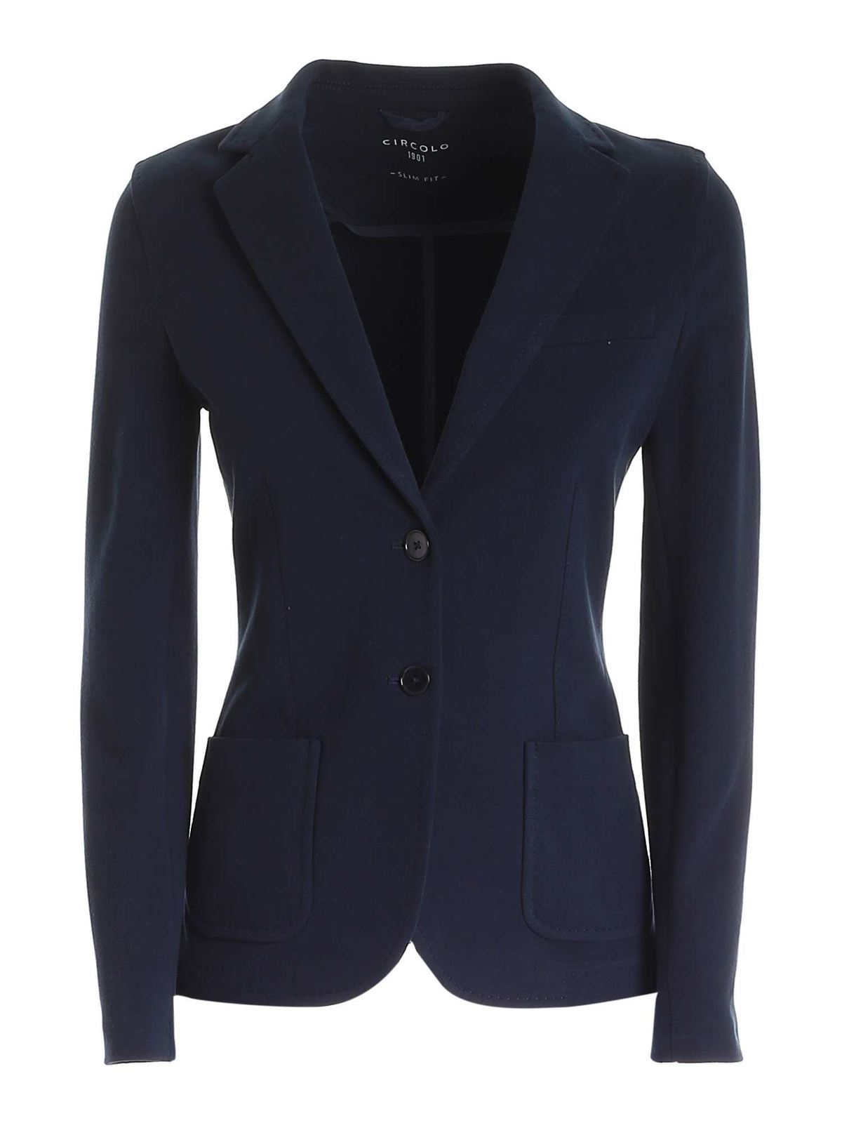 Circolo 1901 Cottons SINGLE-BREASTED JACKET IN BLUE