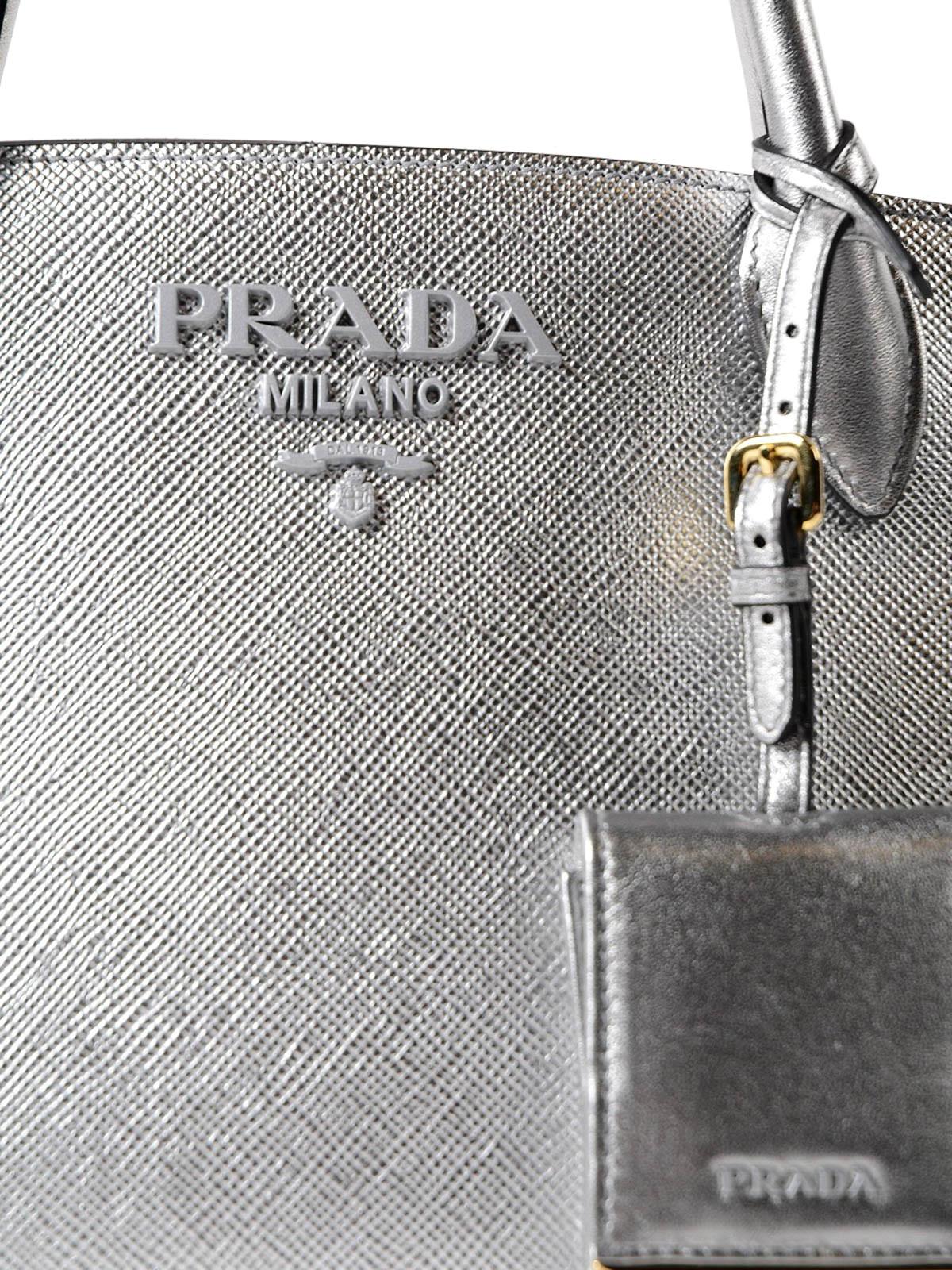 Prada City silver calfskin handbag uJi52