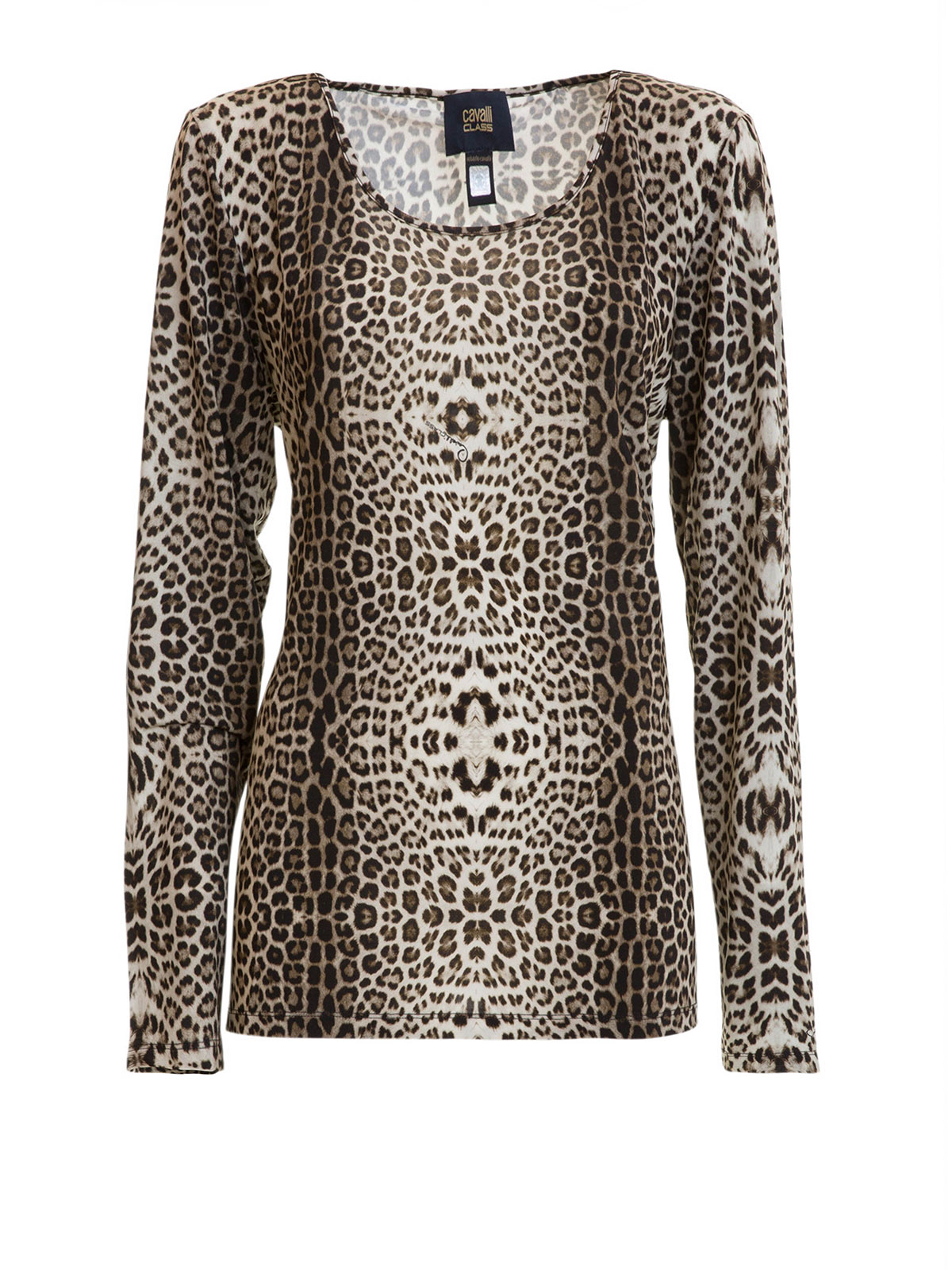 Animal print long sleeves t shirt by class roberto cavalli for Long sleeve printed t shirts
