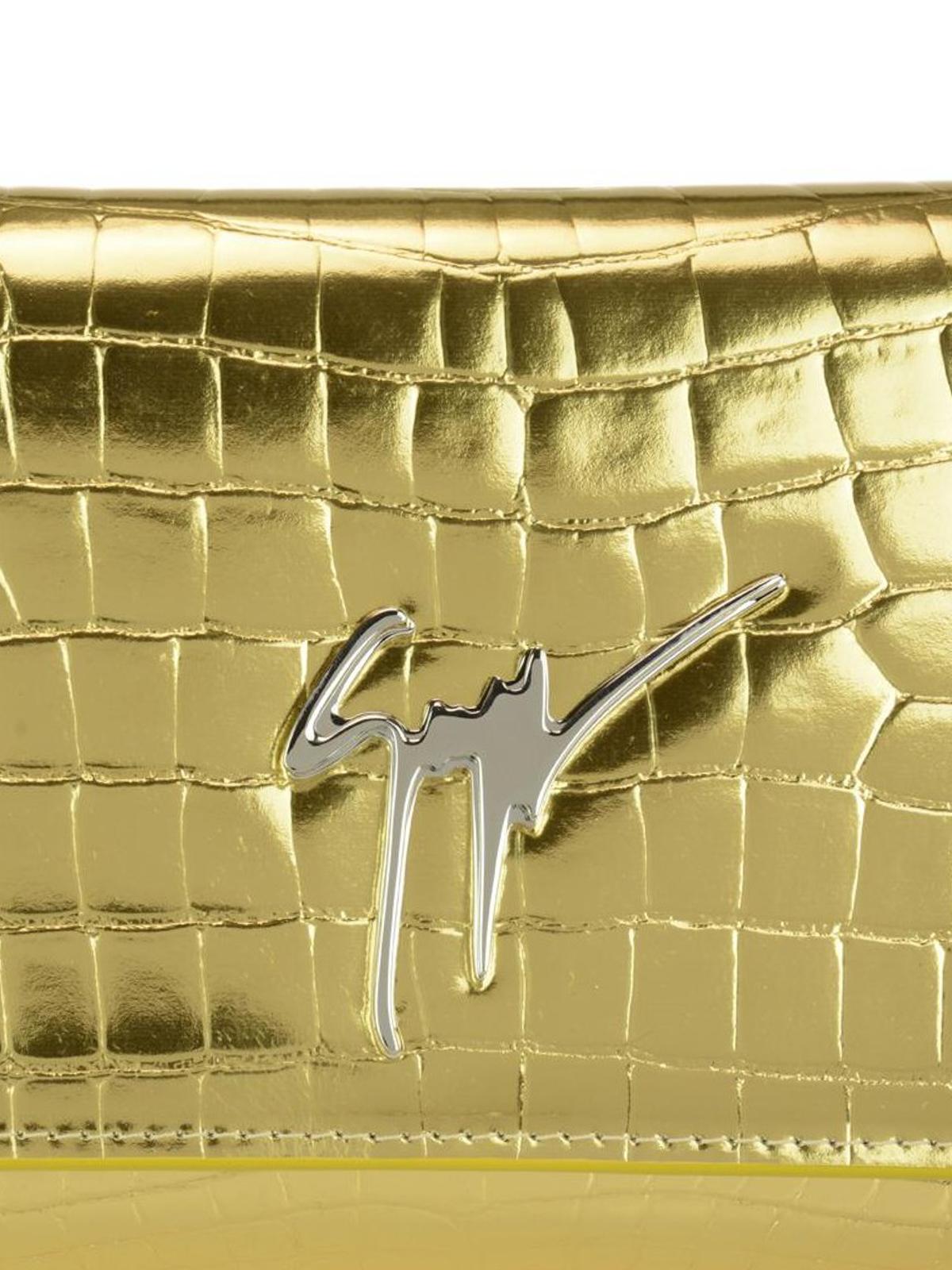 Giuseppe Zanotti Cleopatra gold croco print clutch bOKJfvSryr
