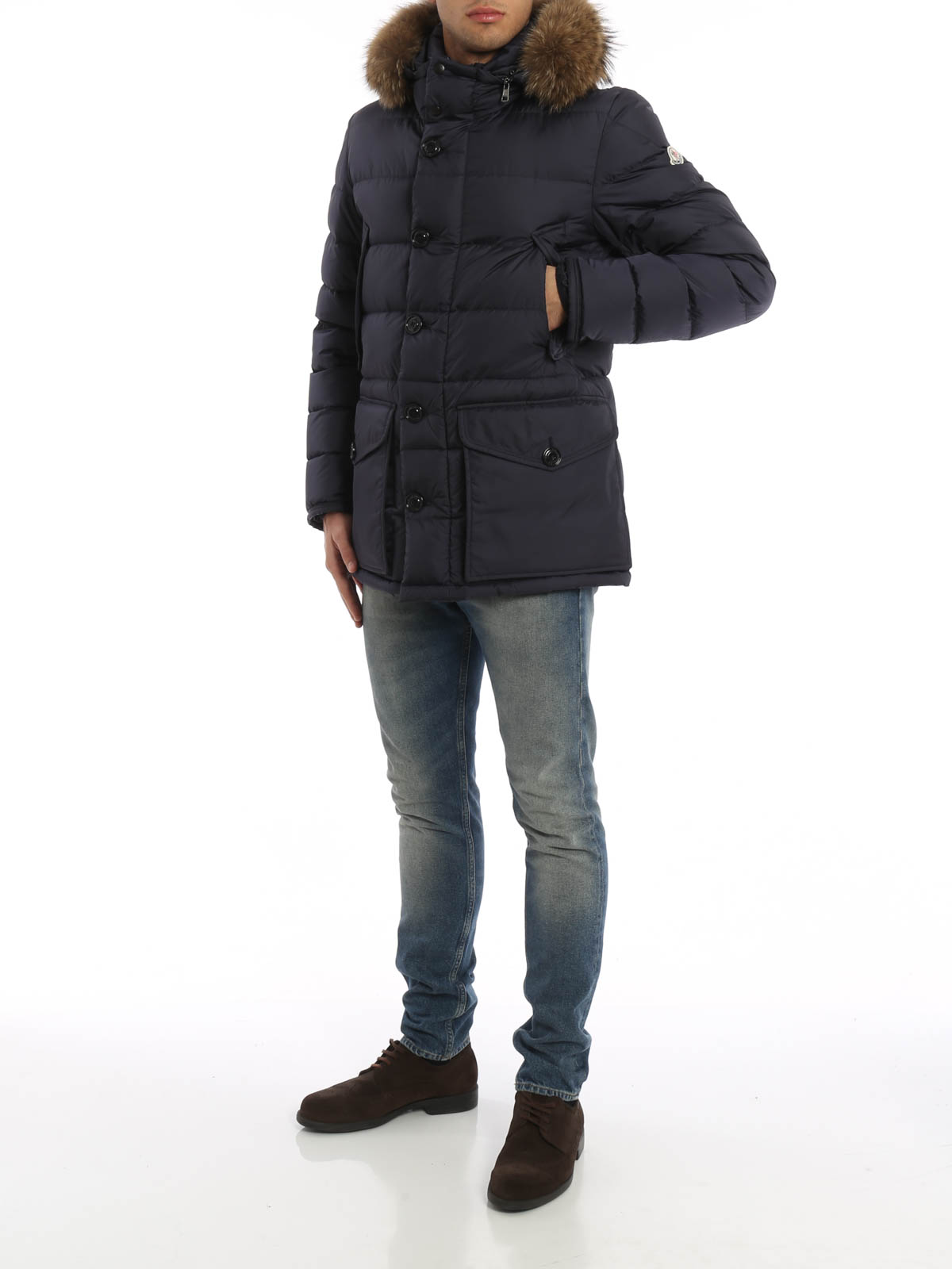 Moncler Cluny fur detailed padded jacket Kurze