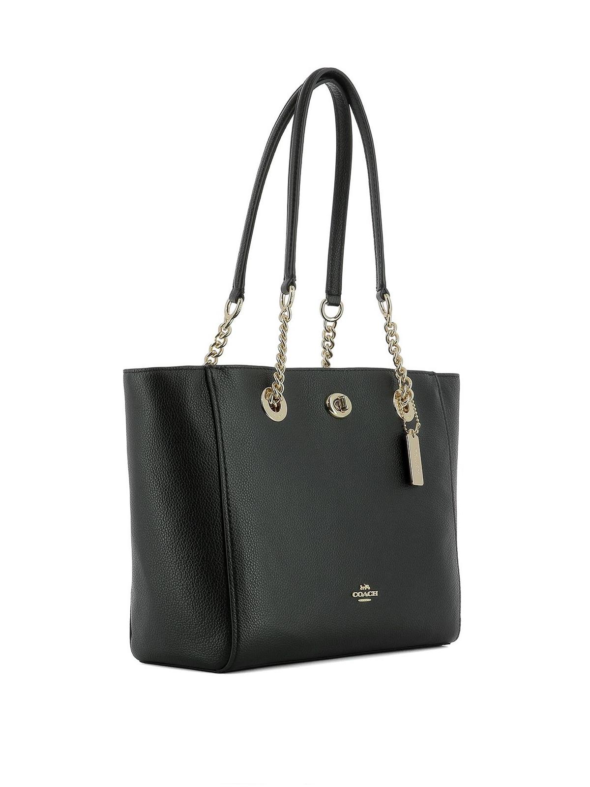 Coach - Black grainy leather tote - totes bags - 57107 NERO ORO CHIARO be1fb310f5ea2