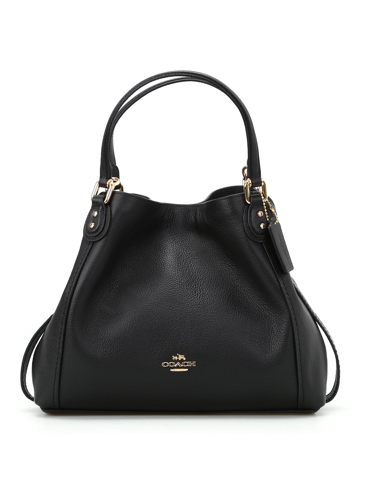 Coach - Edie 28 black grainy leather tote - shoulder bags - 57124LIBLK