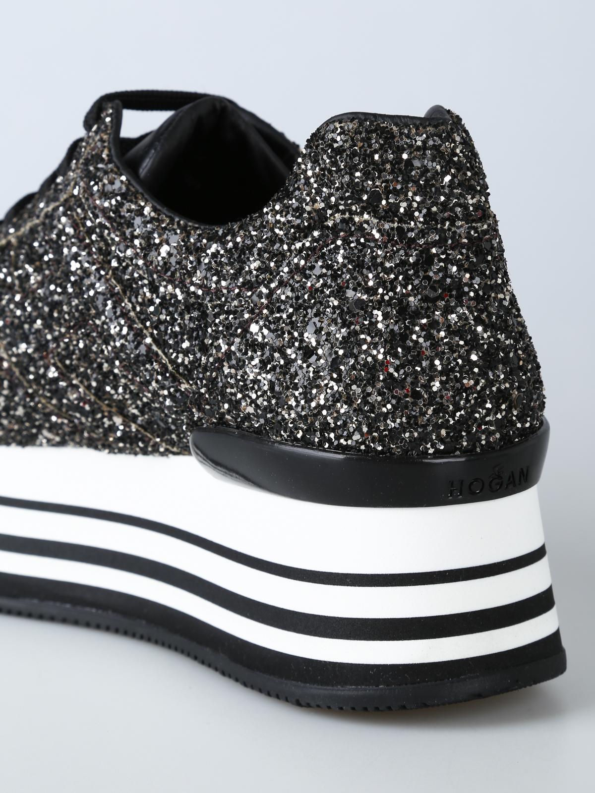 Trainers Hogan - Coarse glitter H222 maxi platform sneakers ...