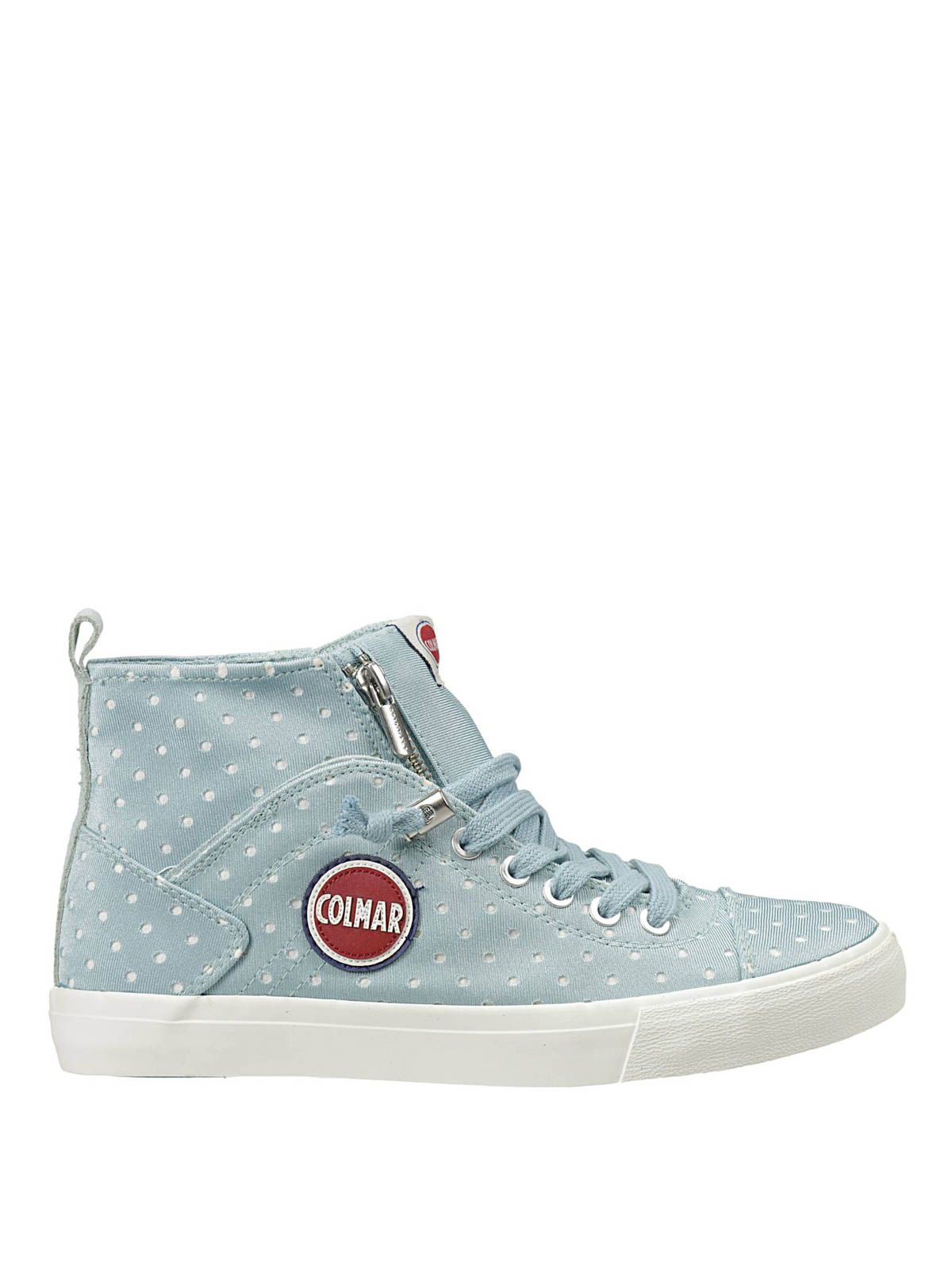 drilled canvas high top sneakers by colmar originals