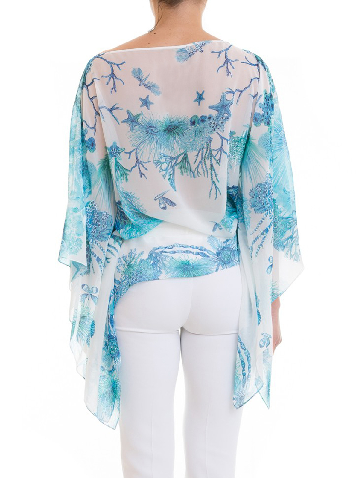 68d30b248ebe5 Roberto Cavalli - Coral Reef light blue silk blouse - blouses ...