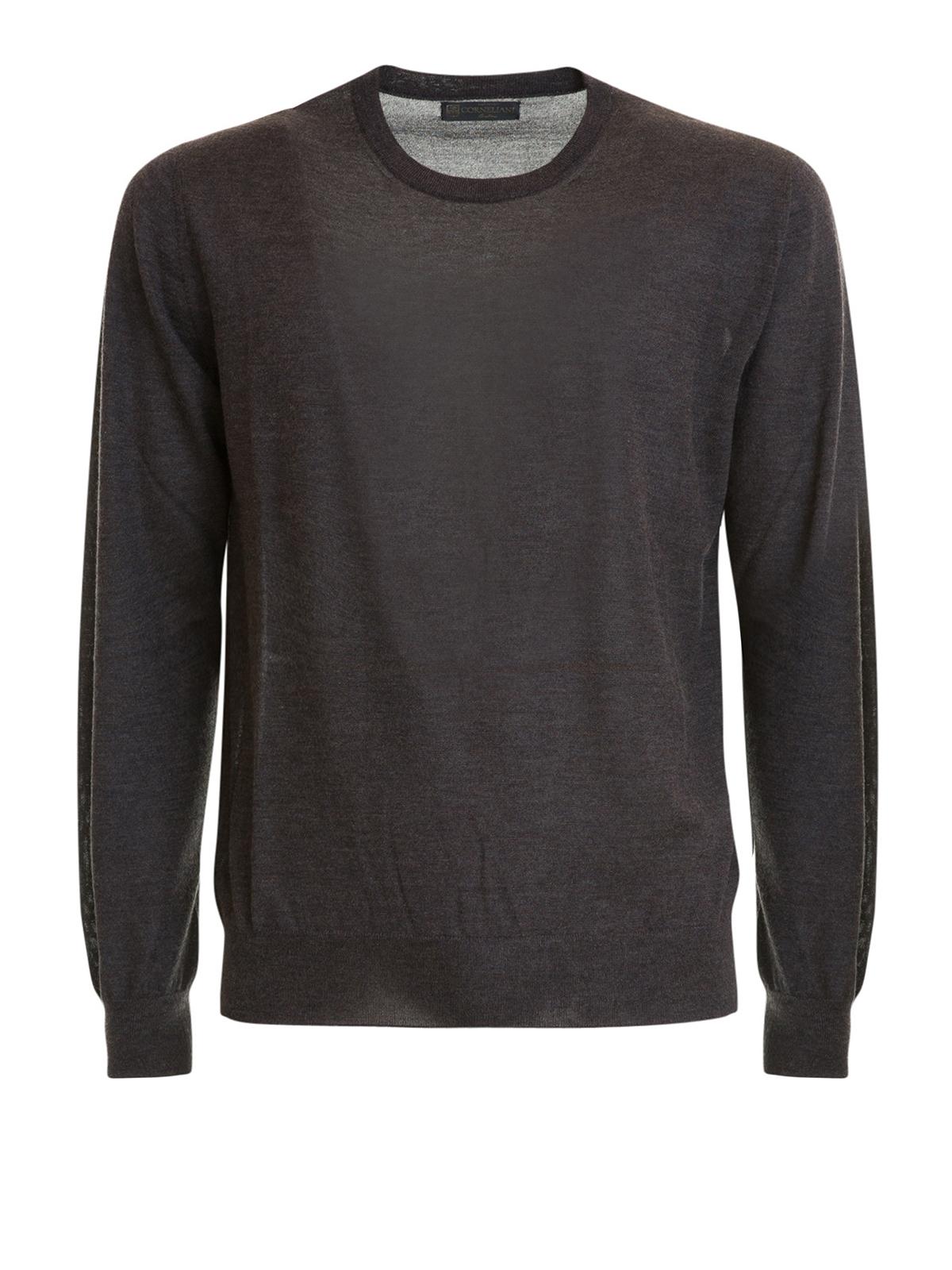 ri3a626fe corneliani cappotto in seta e cashmere grigio