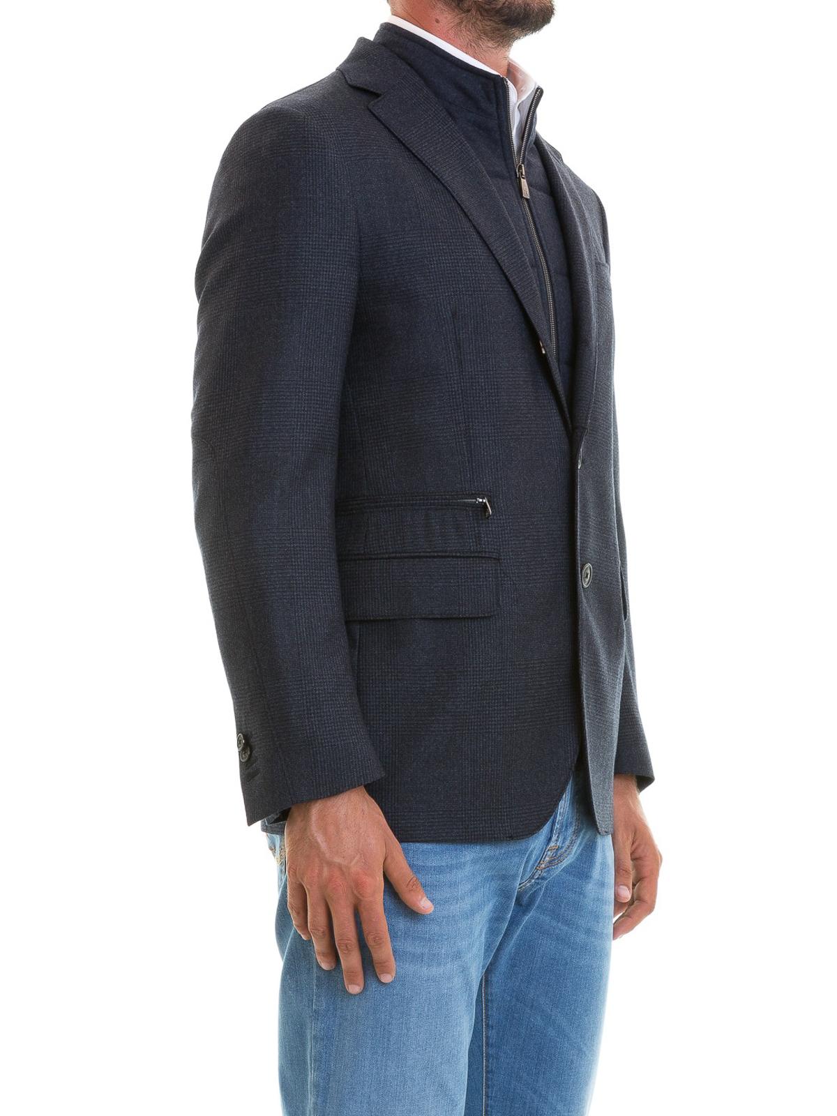 CORNELIANI  giacche blazer online - Blazer in lana blu imbottito 172ea826352