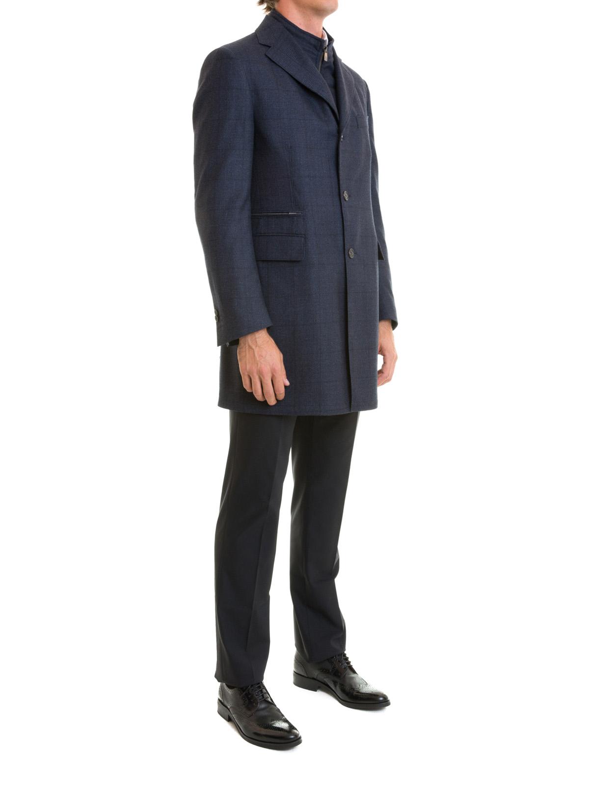 CORNELIANI  cappotti corti online - Cappotto imbottito in lana check b321f0634d3