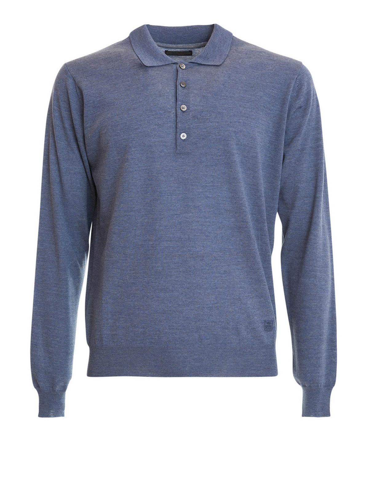 Long sleeves wool polo shirt by corneliani turtlenecks for Long sleeve wool polo shirts