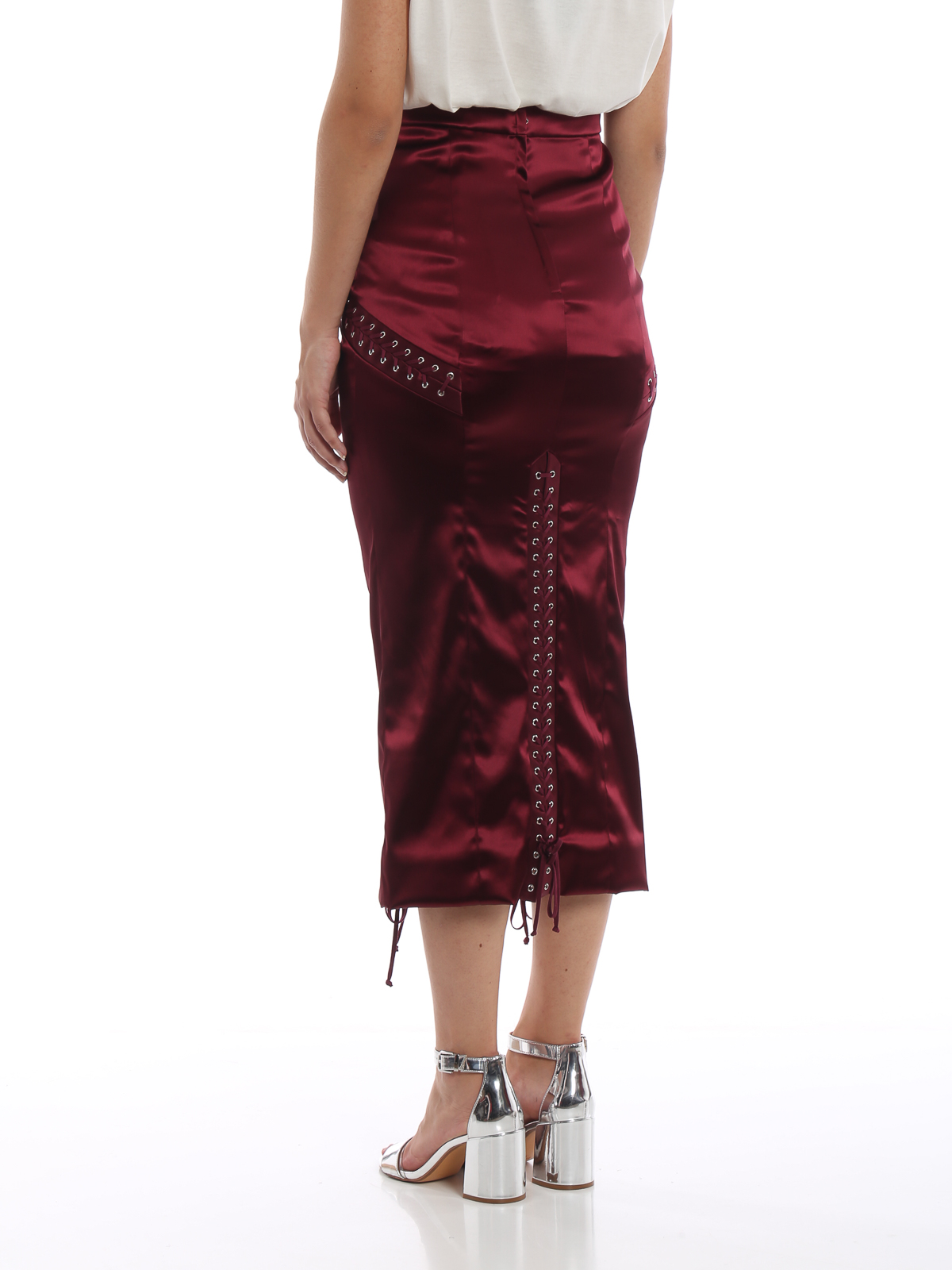 ba9d087ba2f4fe Dolce & Gabbana - Corset style satin midi skirt - Knee length skirts ...