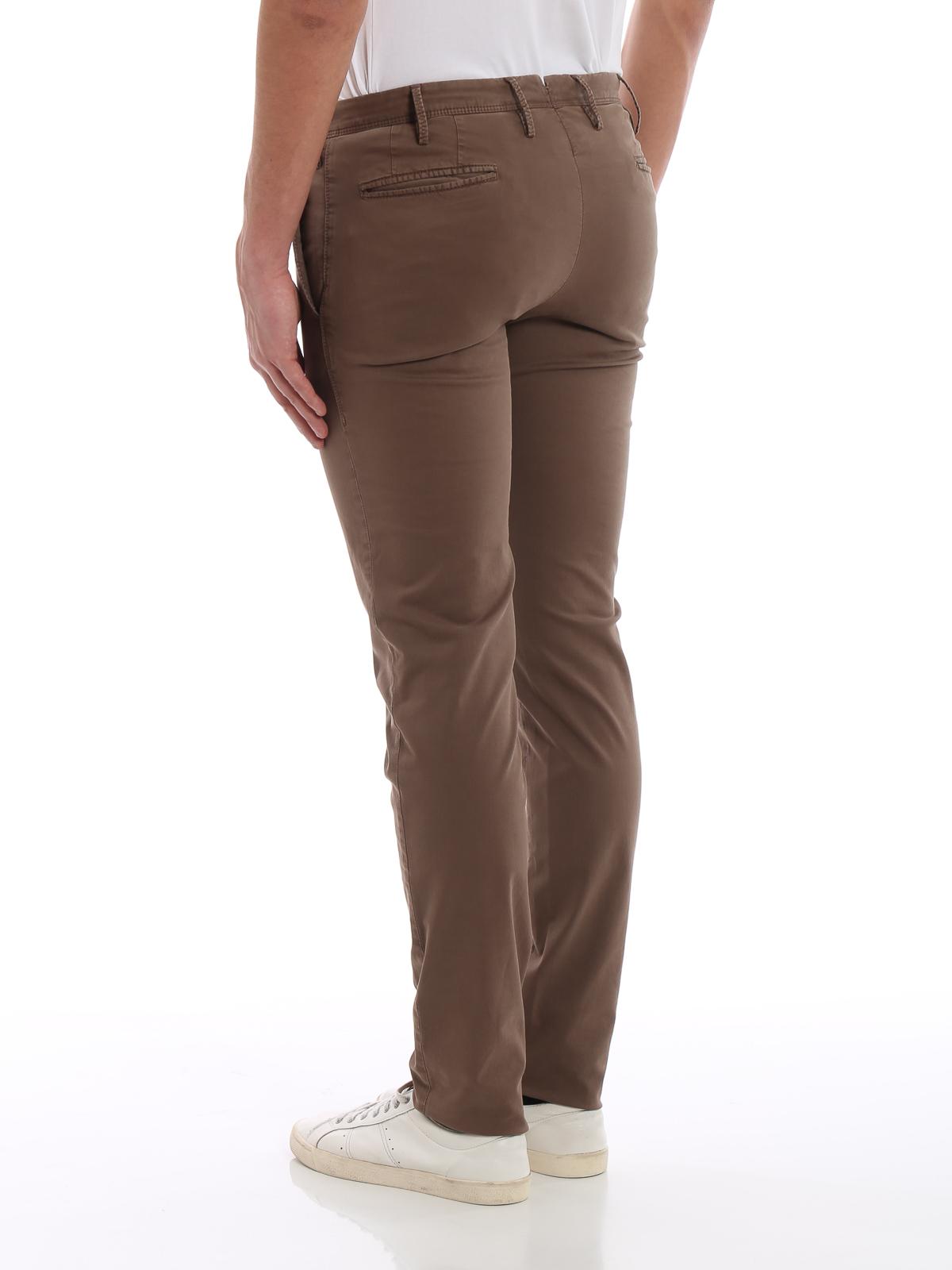 Pt 01 - Pantaloni in drill di cotone color cacao - pantaloni casual ... a8b5f045439
