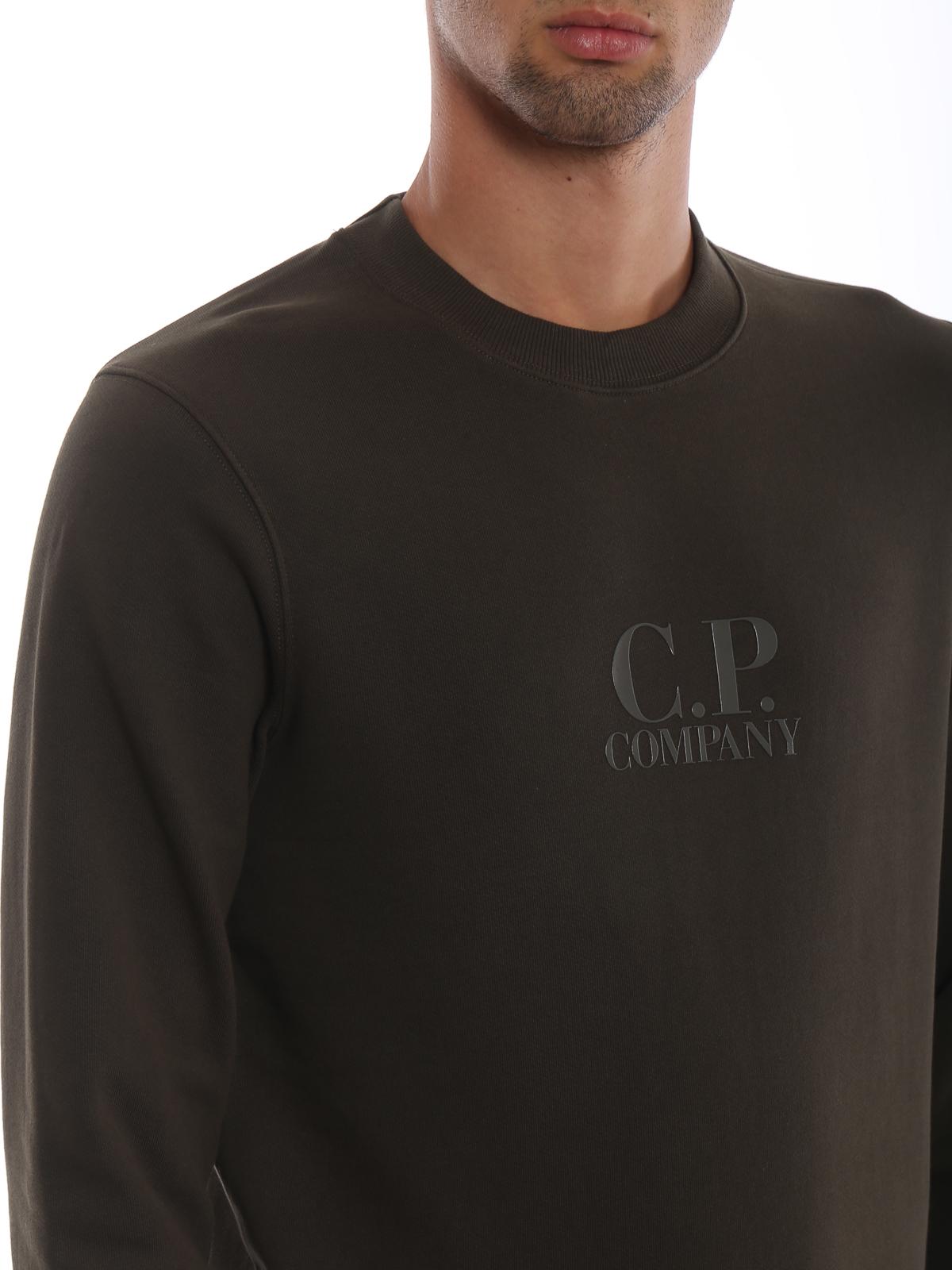 CP COMPANY buy online Army green diagonal fleece logo sweatshirt 1cd980d8ced9