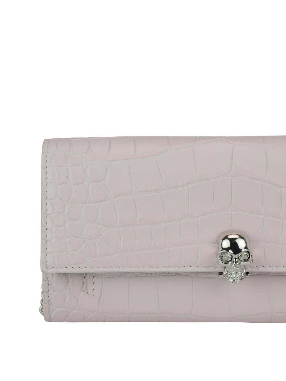 Alexander McQueen Croco print leather wallet clutch XTzpg