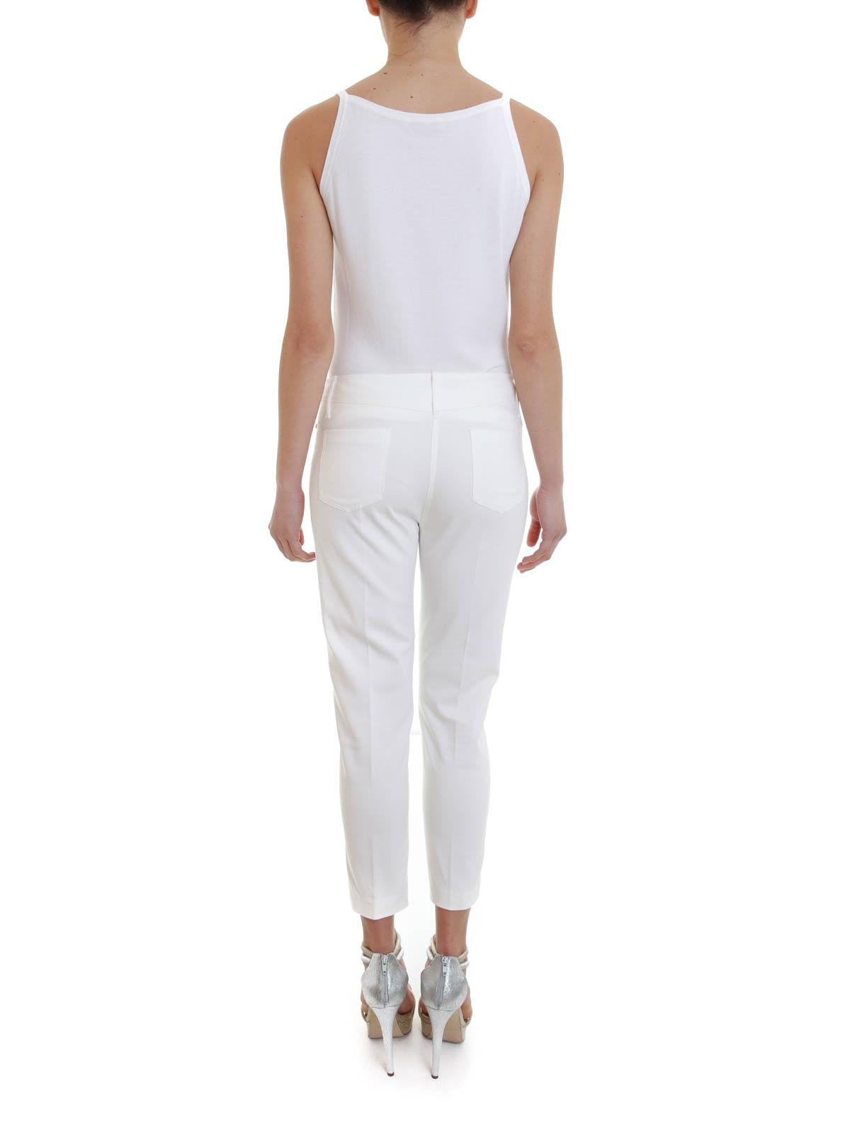 Pantalon Blanc Femme Pantalons Angelo Marani Casual Pour kuXZiOPT