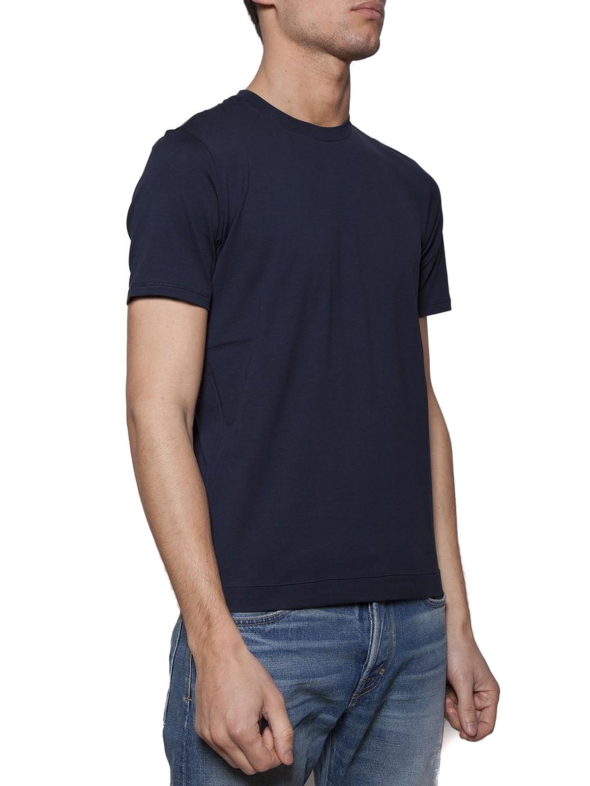 meet faf1e 2a341 Cruciani - Dark blue stretch jersey T-shirt - t-shirts ...
