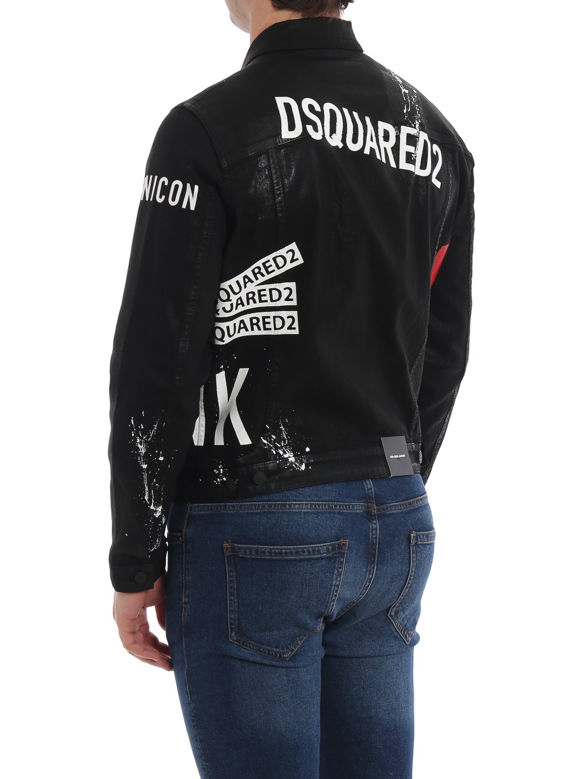 new product 55a96 e4037 Dsquared2 - Giacca jeans New Punk Dan Icon nera - giacche ...