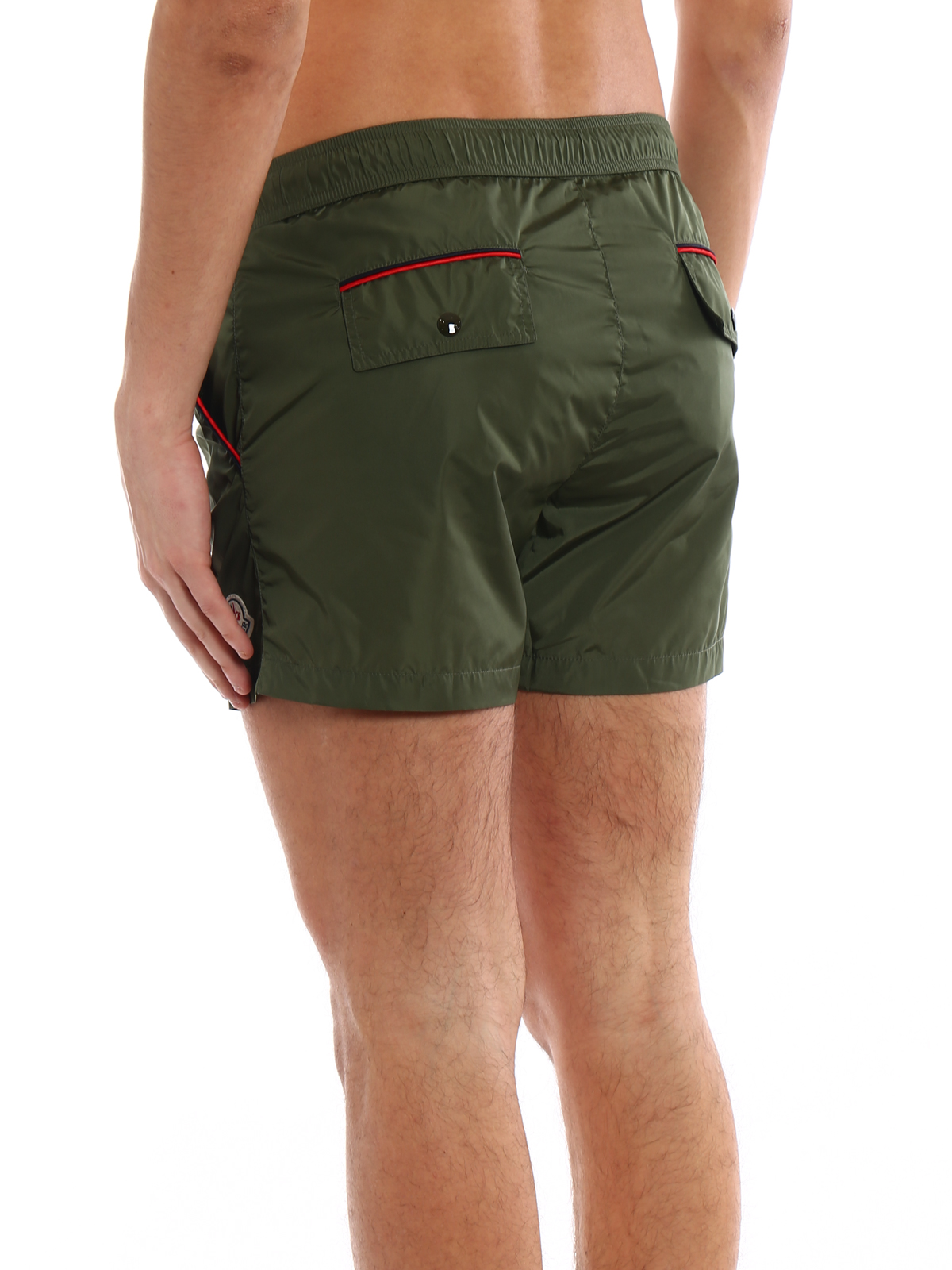 Dark green nylon swim shorts shop online: MONCLER