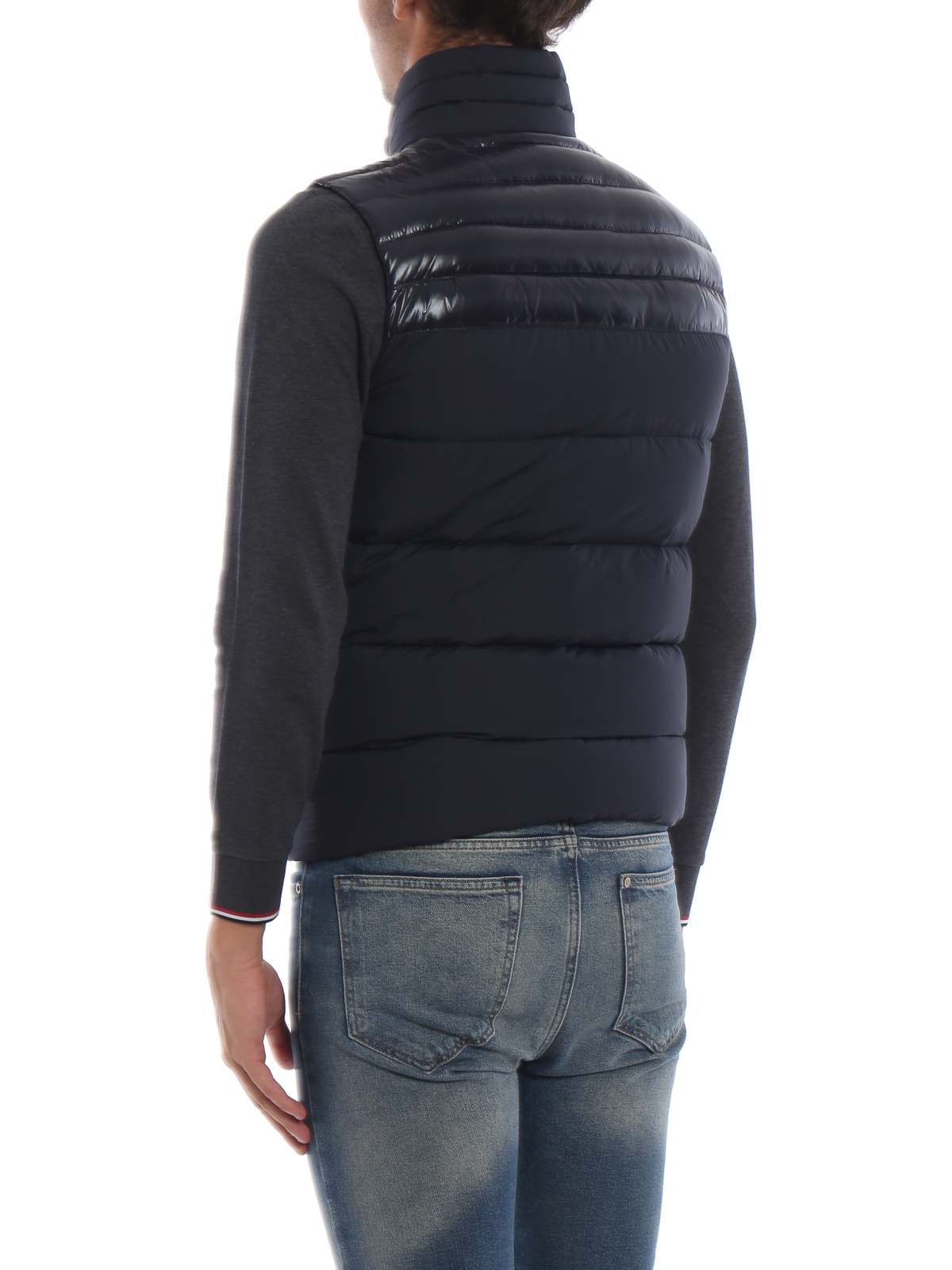 Deneb navy blue sleeveless puffer jacket shop online: MONCLER
